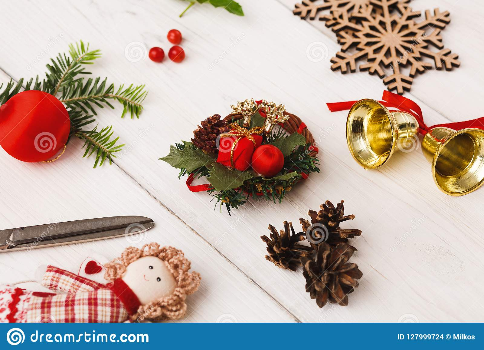 handmade tools for making christmas gift top view