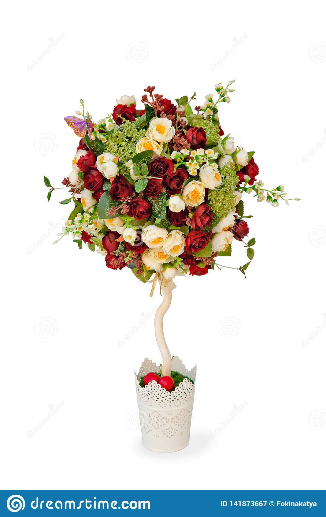 Topiary Tree Made Of Artificial Flowers Stock Image Image Of Tree Topiary 141873667