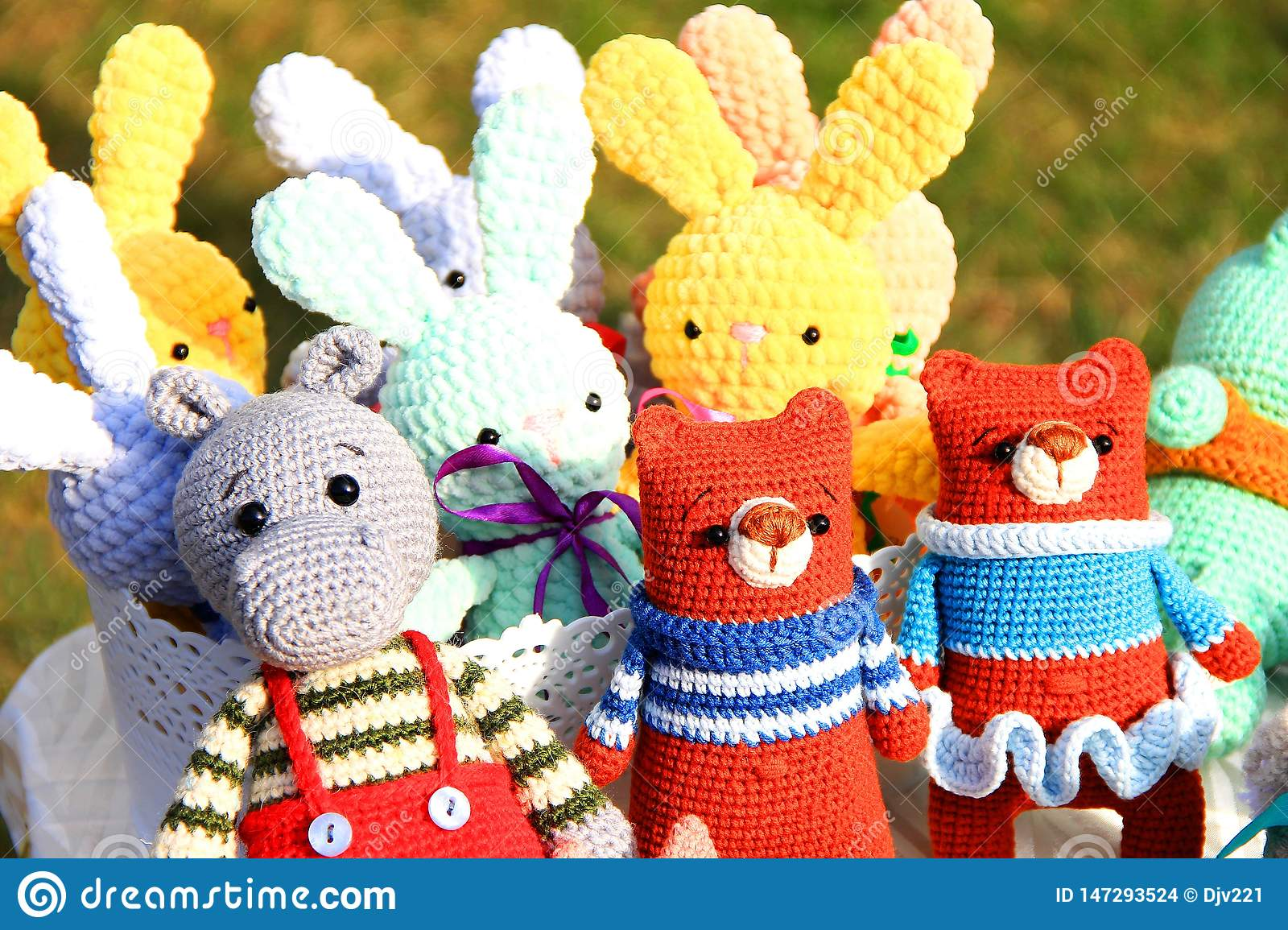 Handmade toys knitted, set of different animals