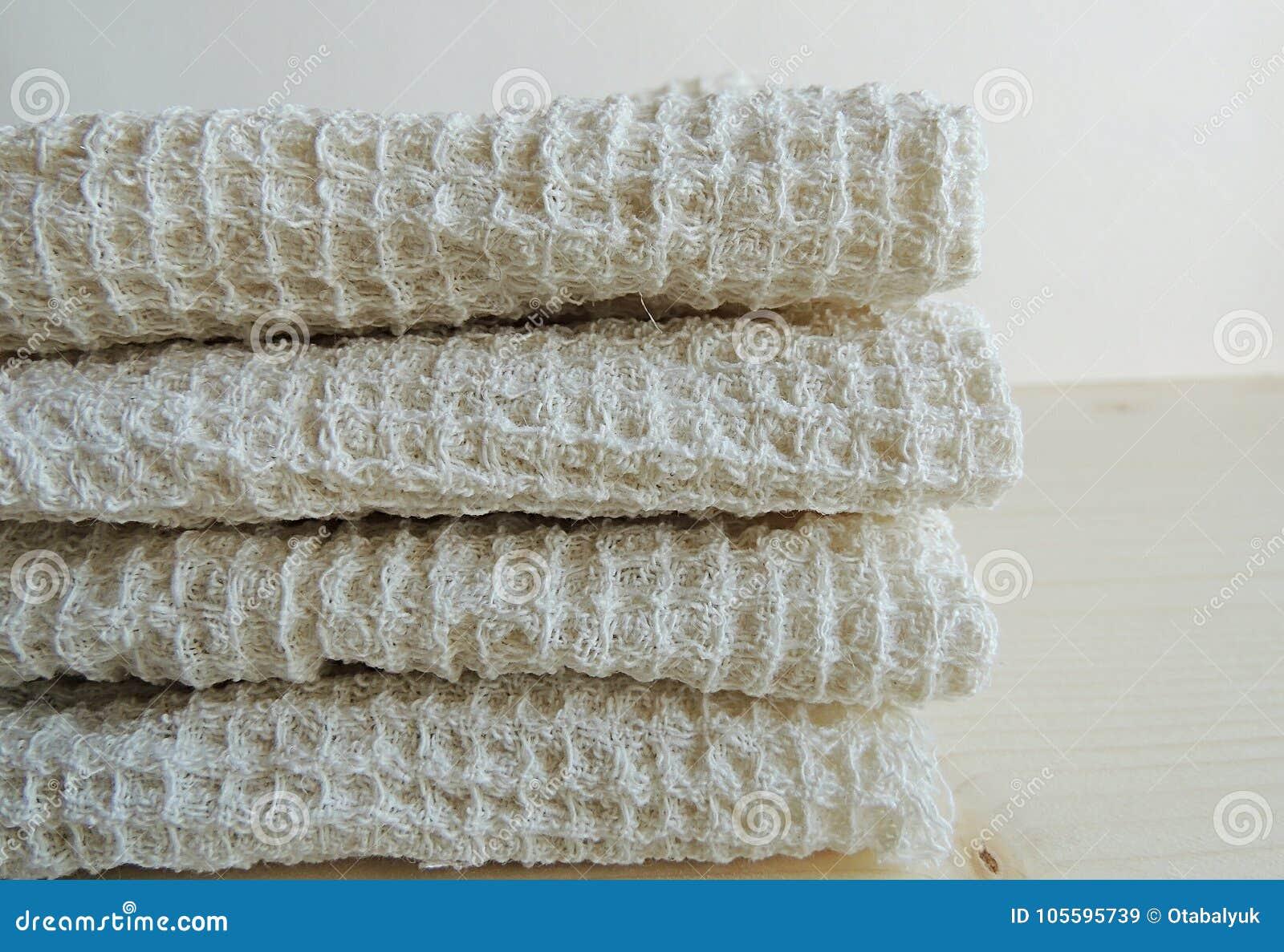 Handmade Waffle Texture Linen Cotton Towels Wash Cloth Kitchen