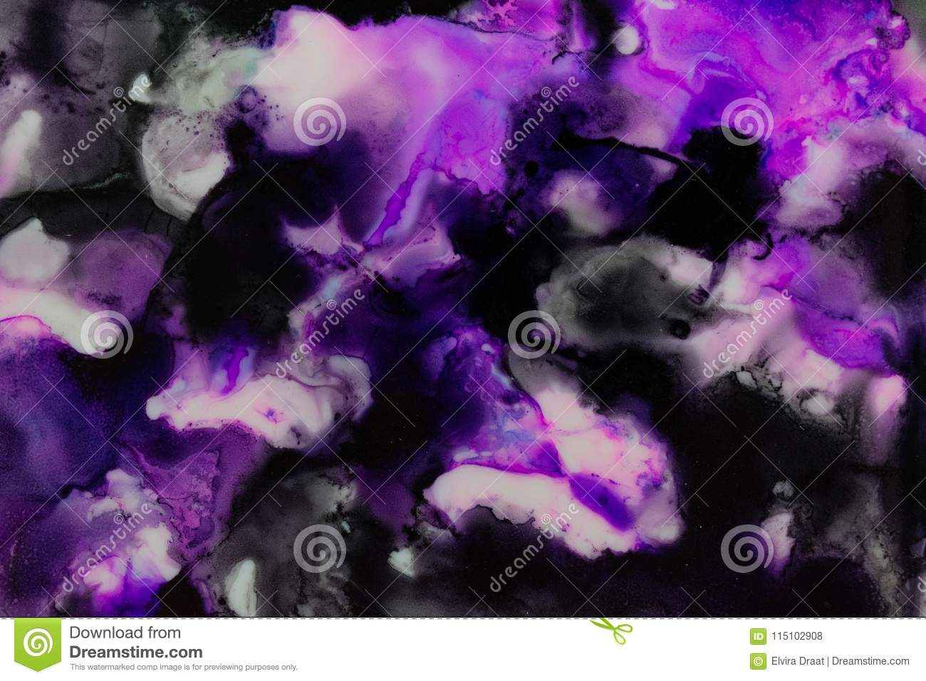 Watercolor with purple black and white galaxy splatter