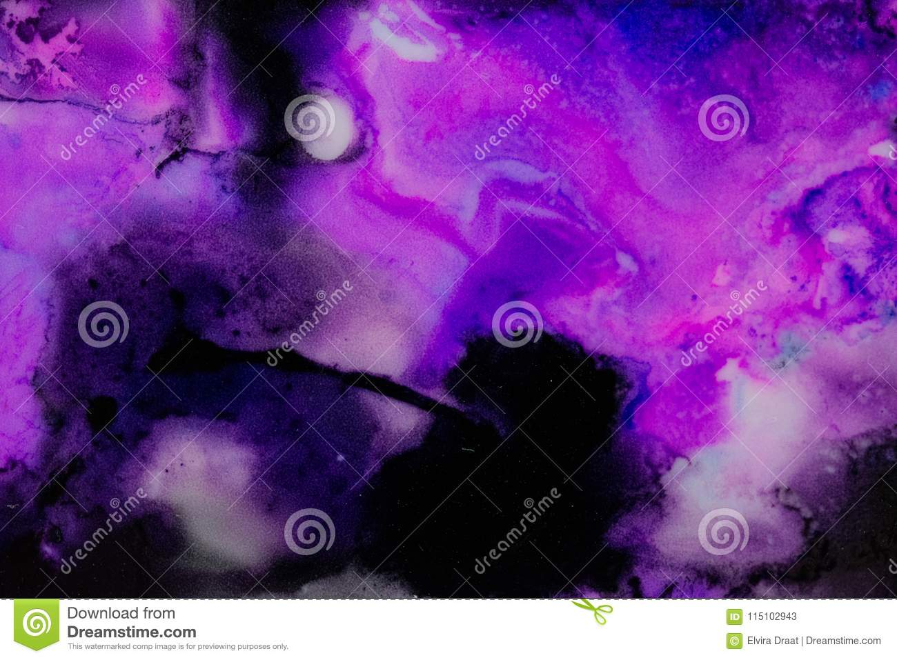 Handmade watercolor with purple black and white galaxy splatter useable as a background or texture