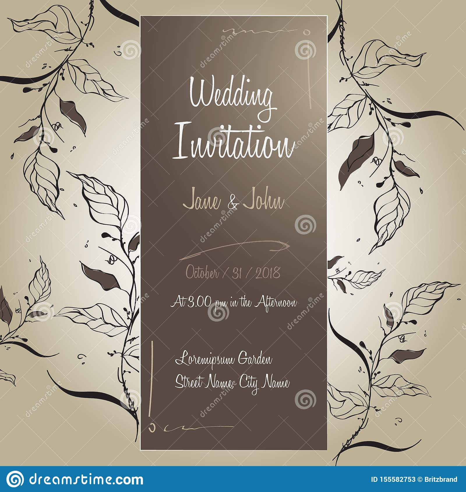 Handmade Wedding Invitation Card Template Design Floral With