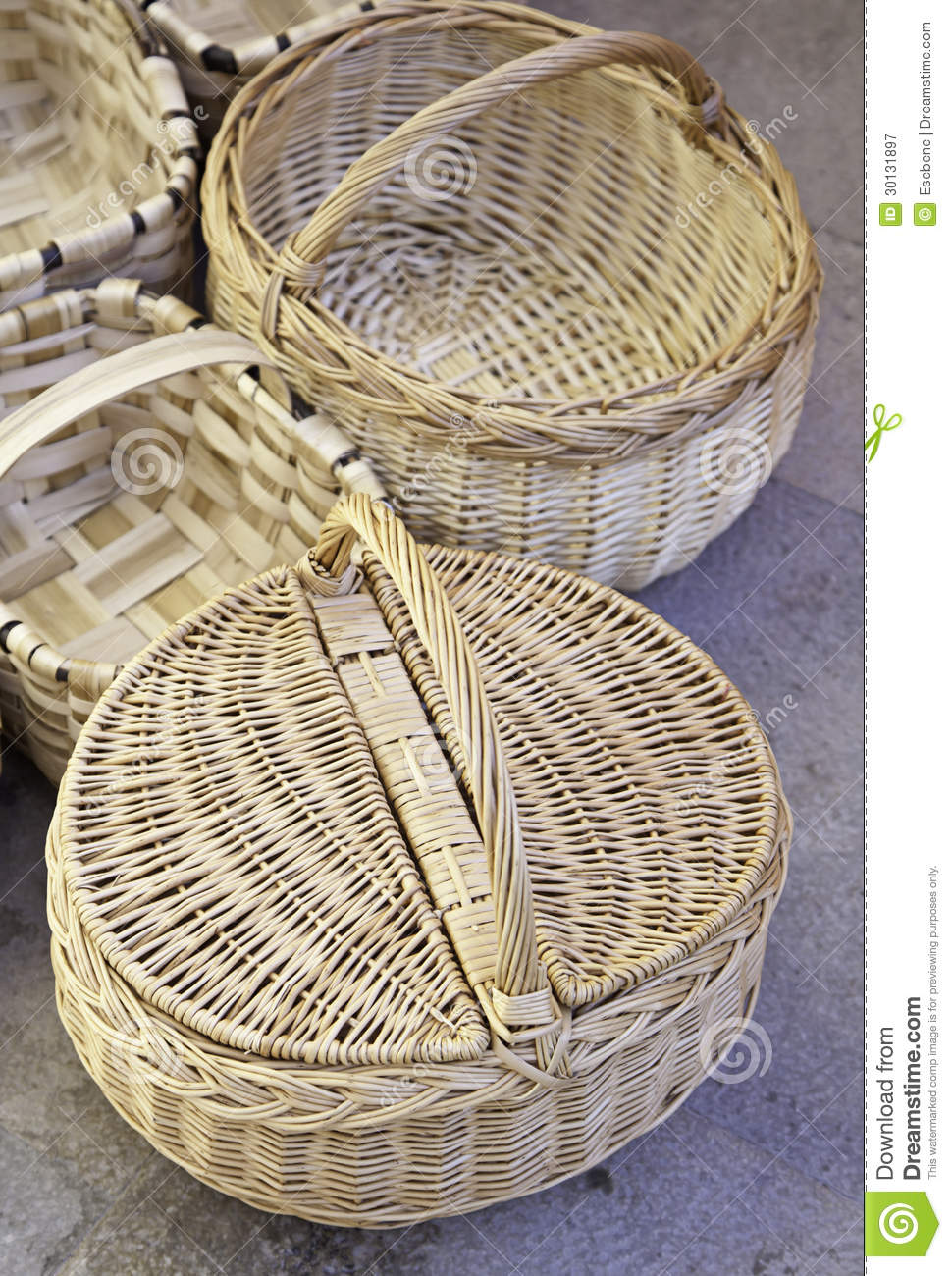 Old Handmade Baskets : Handmade wicker baskets royalty free stock photography