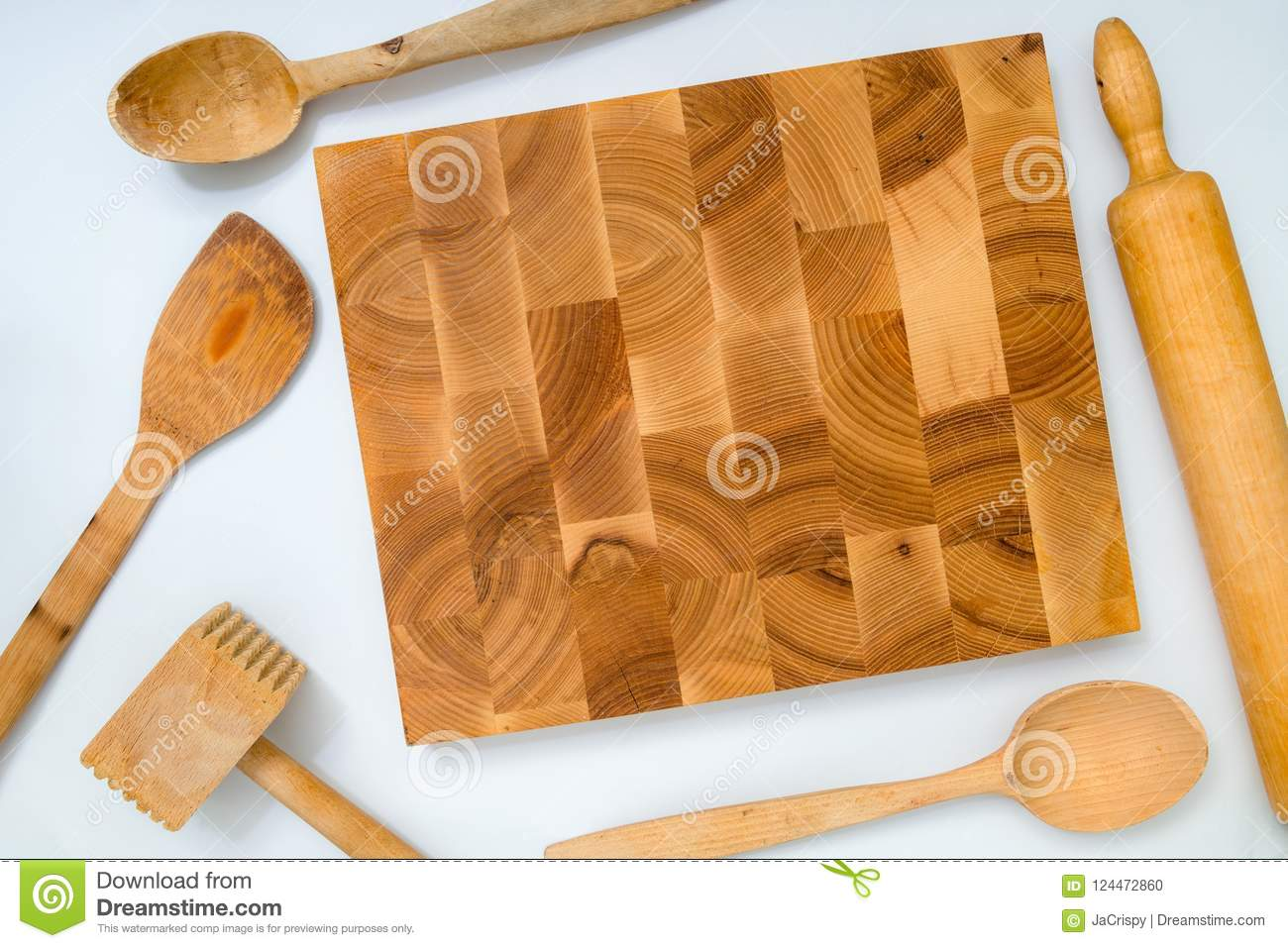 Pleasing Handmade Wooden Board And Kitchen Tools On White Background Download Free Architecture Designs Grimeyleaguecom