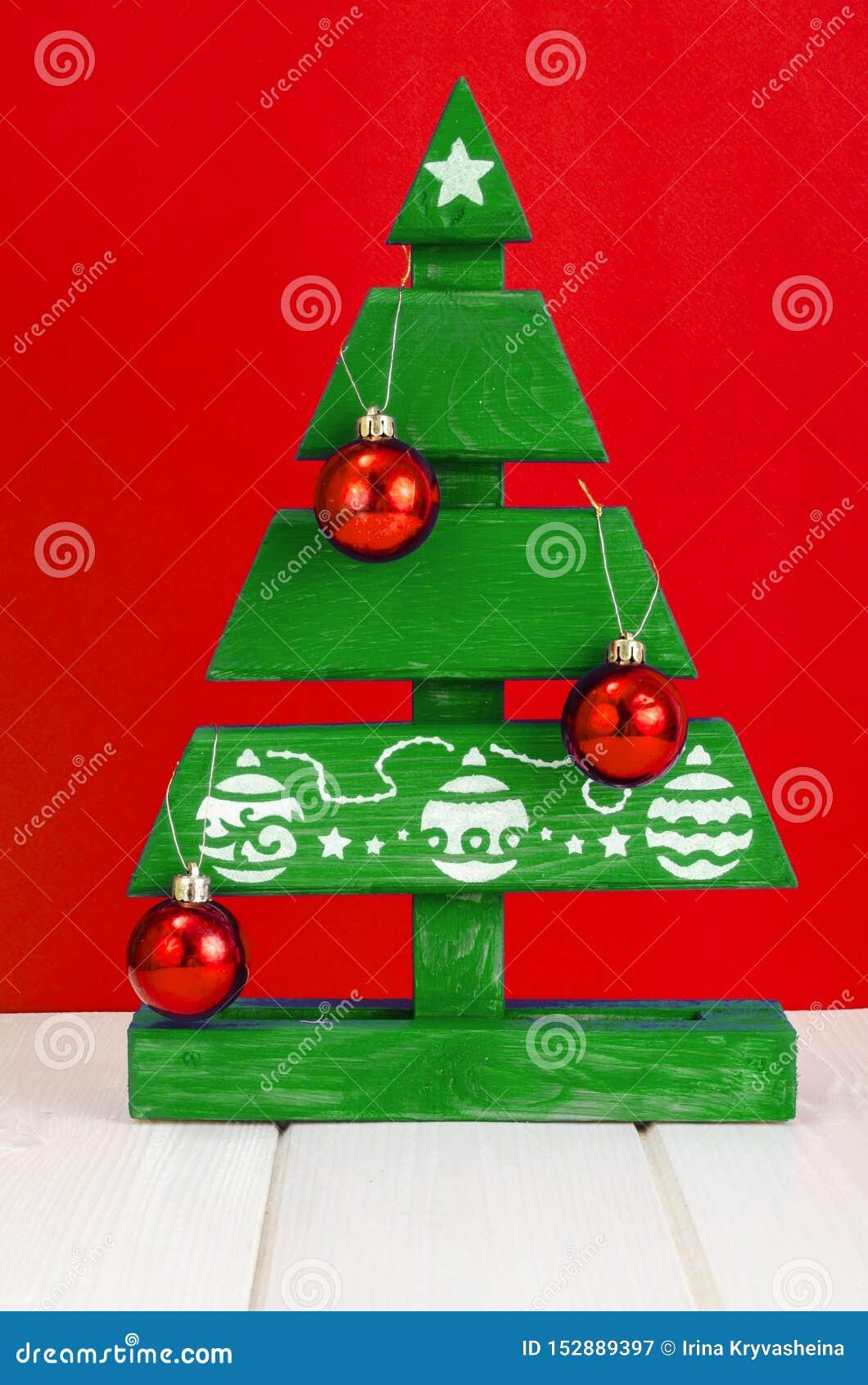Handmade Wooden Christmas Tree Painted Blue Paint Stock Image Image Of Brush Garland 152889397