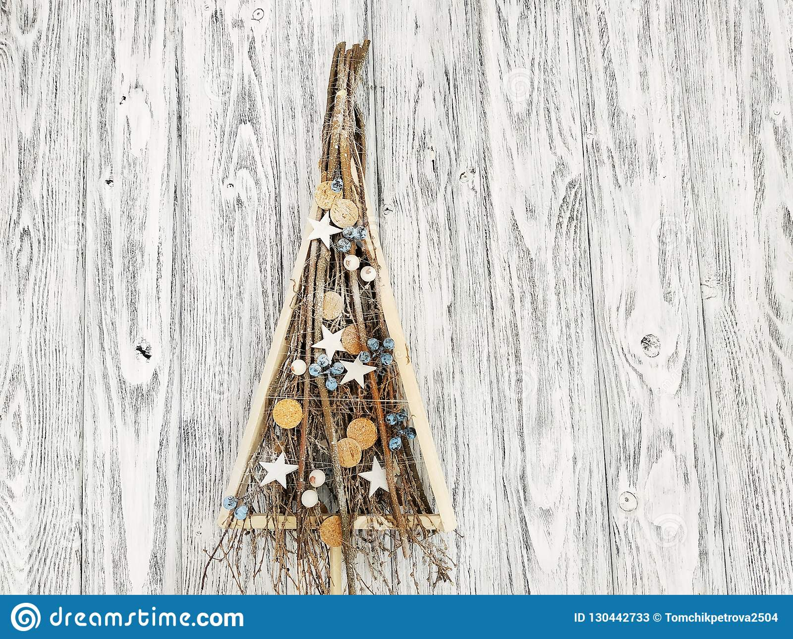 Handmade Wooden Christmas Tree With Winter Christmas Decoration Stock Image Image Of Tree Branches 130442733