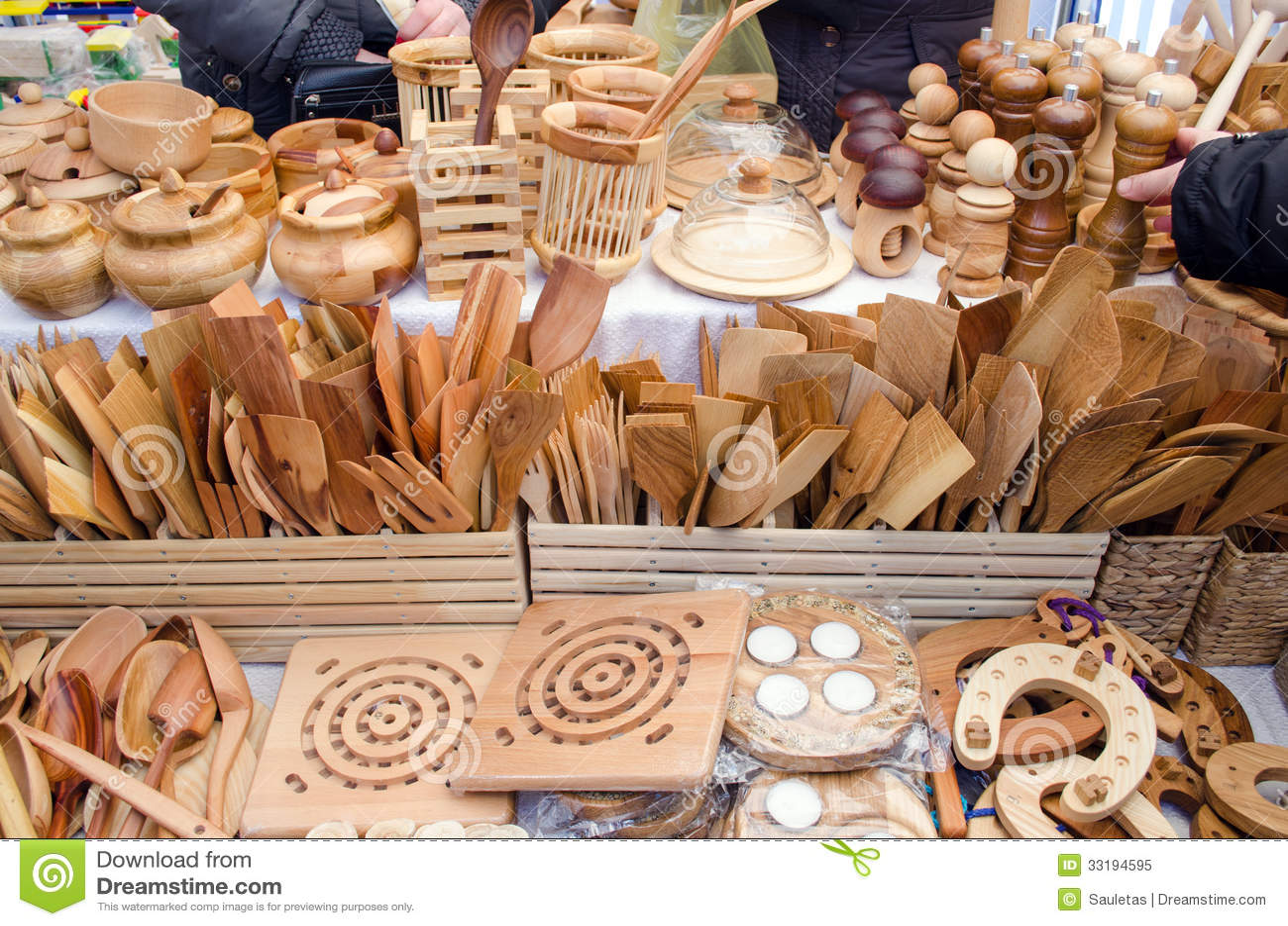 handmade wooden kitchen utensil tools bazaar fair stock image