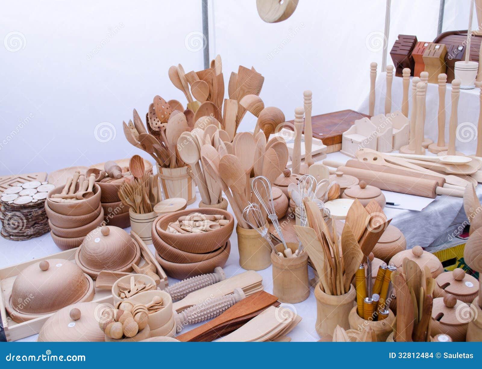Remarkable Handmade Wooden Kitchen Utensil Tools Market Fair Stock Download Free Architecture Designs Grimeyleaguecom