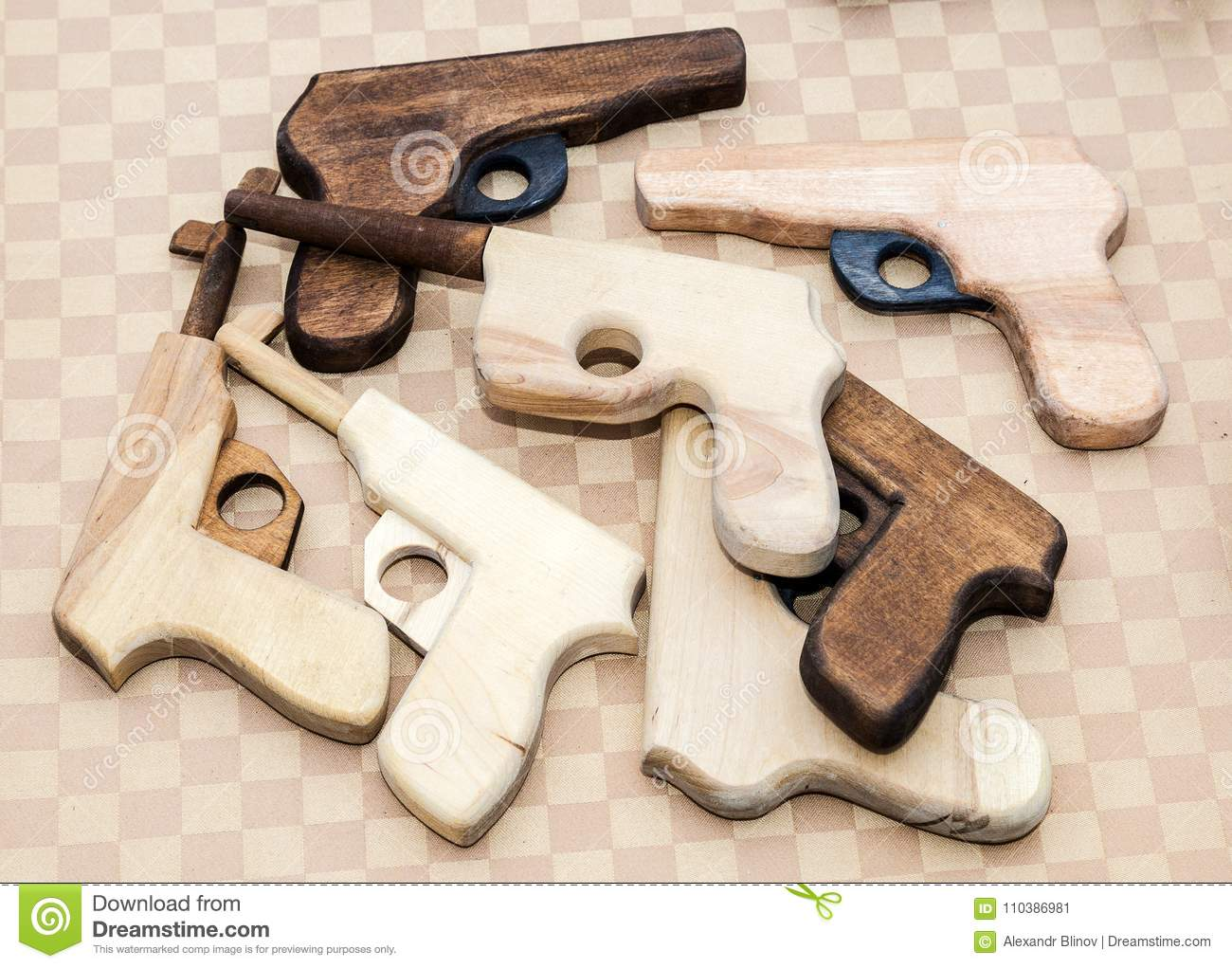 handmade wooden toy pistols for children stock image - image
