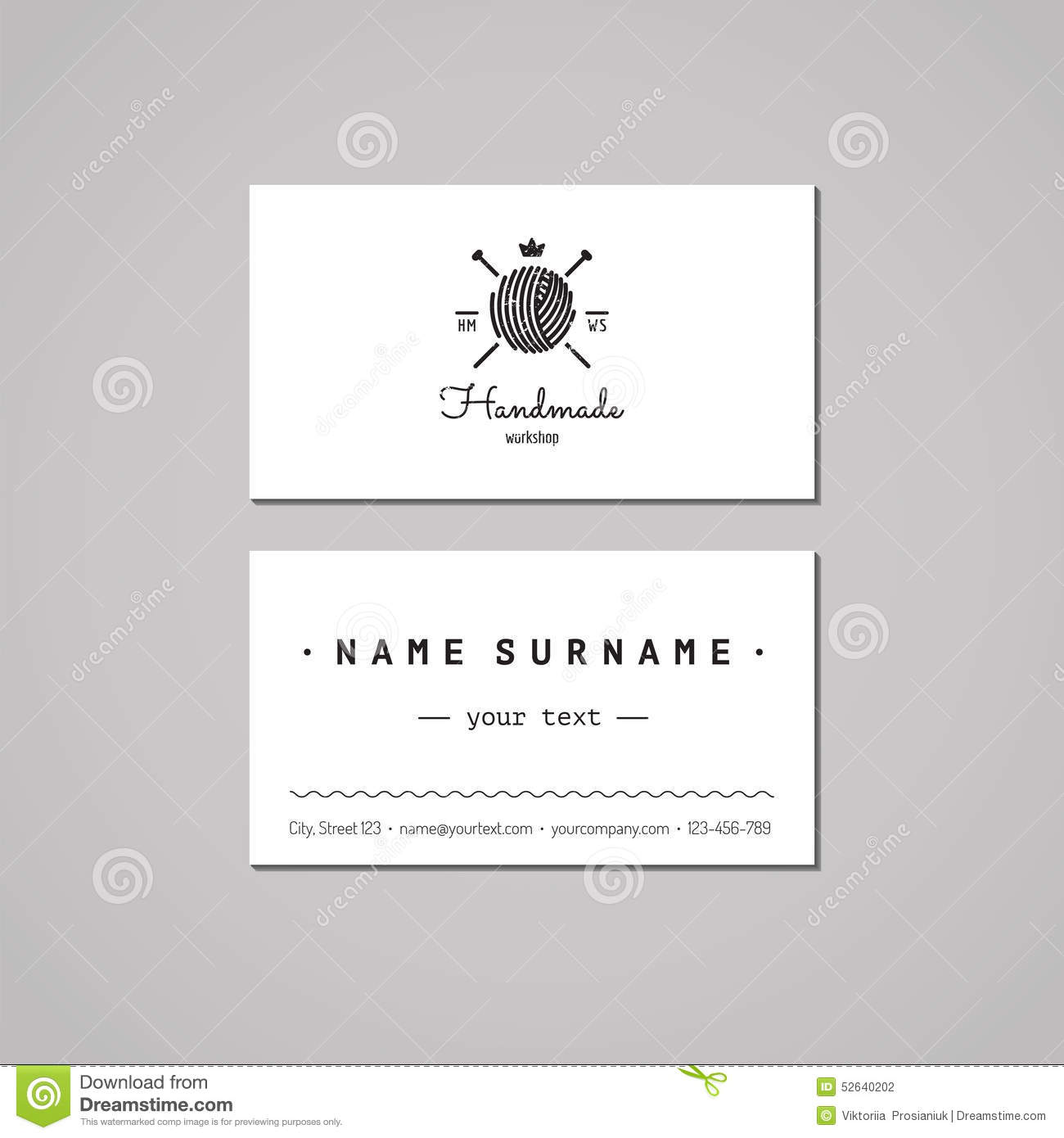 Knitting Logo Business Cards : Handmade workshop business card design concept
