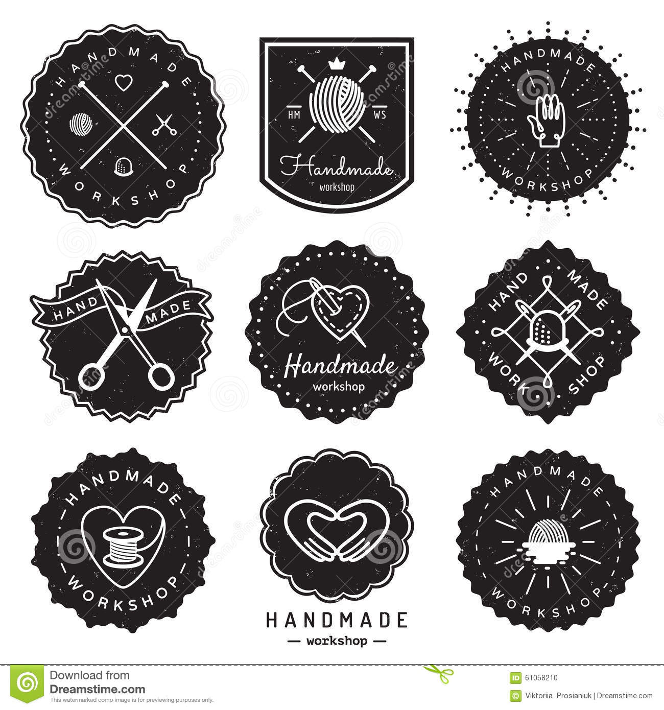 Handmade workshop logo vintage vector set hipster and retro style stock vector illustration - Retro stuhle gunstig ...