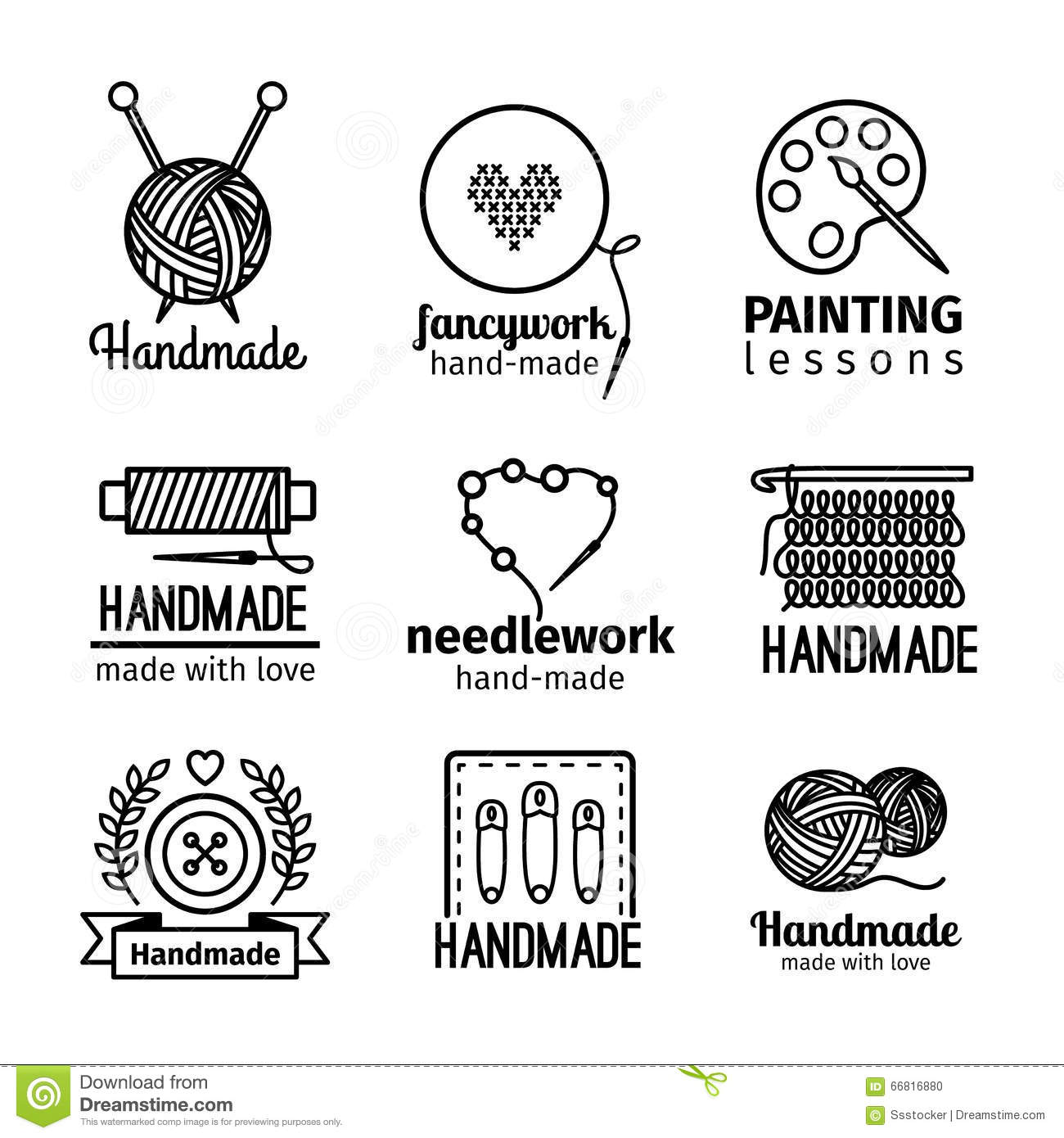 Handmade workshop thin line logo set stock vector illustration of royalty free vector download m4hsunfo Gallery