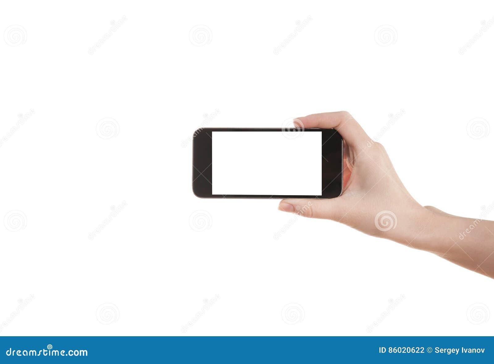 Handmeisje die een mobiele telefoon houden