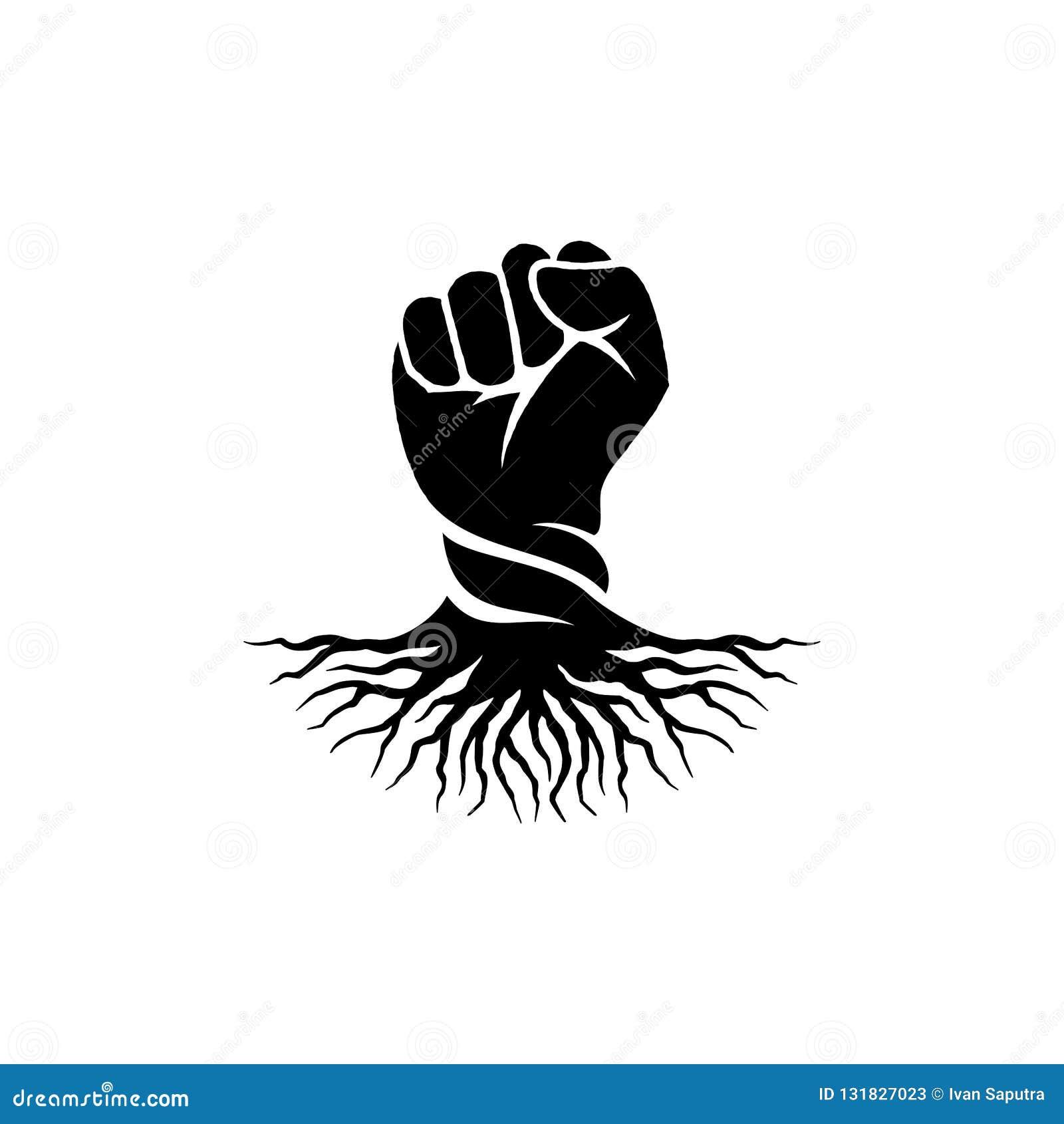 Handnäve och att rota logodesigninspiration - rebellisk logodesigninspiration