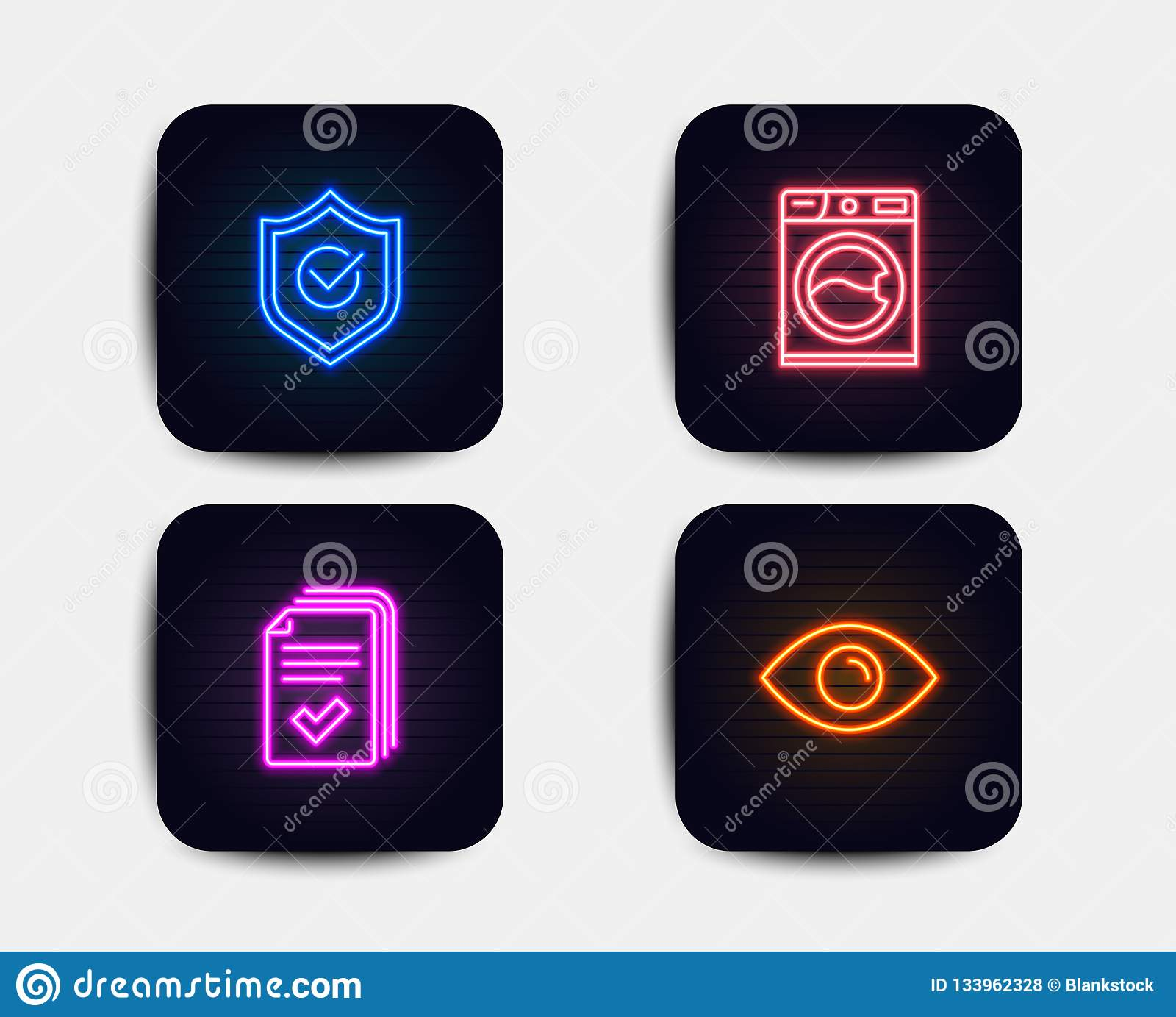 Handout, Washing Machine And Approved Shield Icons. Eye