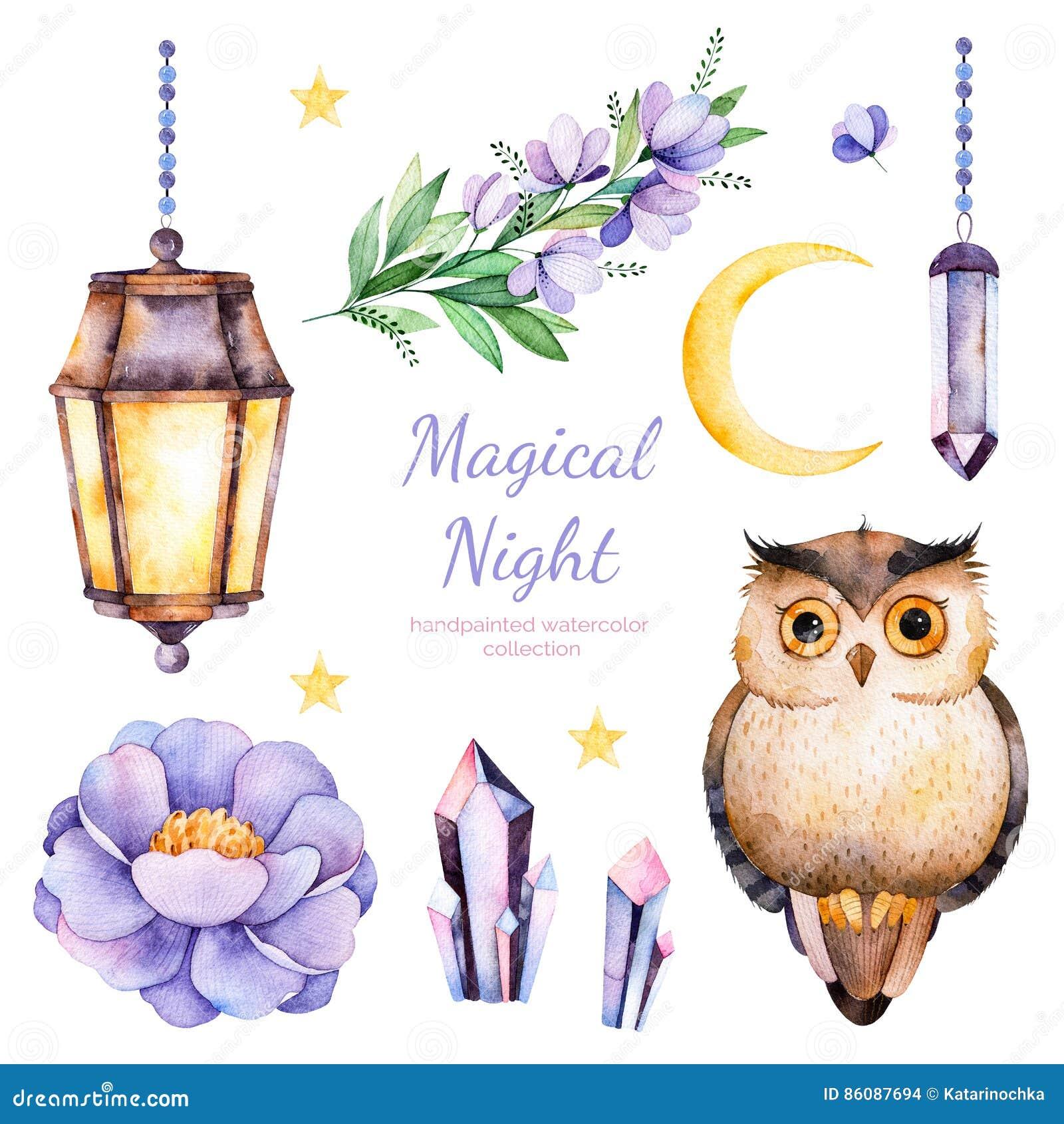 Handpainted цветки акварели, листья, луна и звезды, лампа ночи, кристаллы и милый сыч