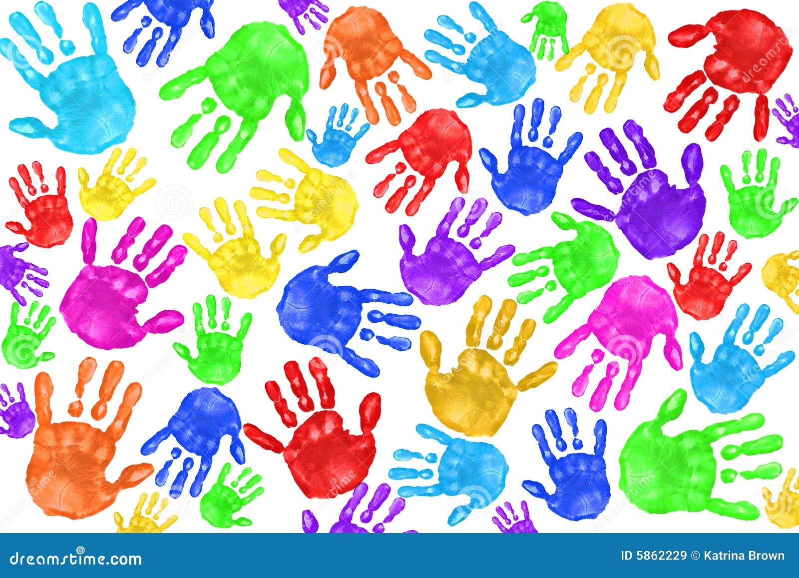 Handpainted handprints dzieci