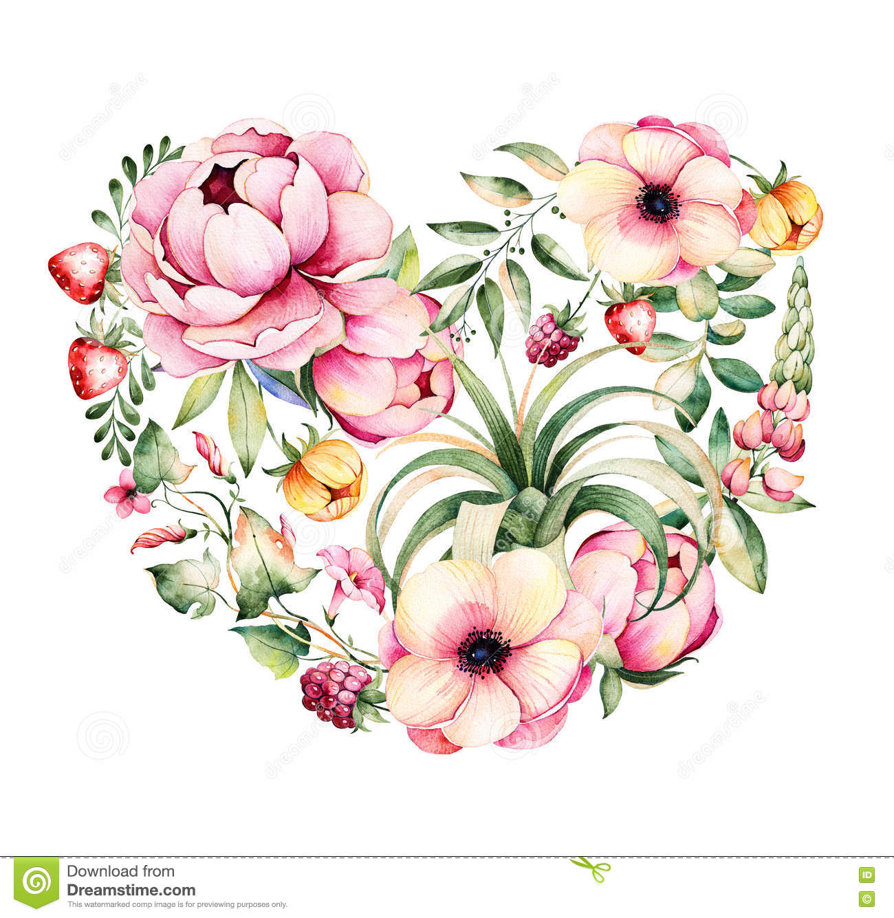 Handpainted illustration.Watercolor heart with peony,field bindweed,branches,lupin,air plant,strawberry