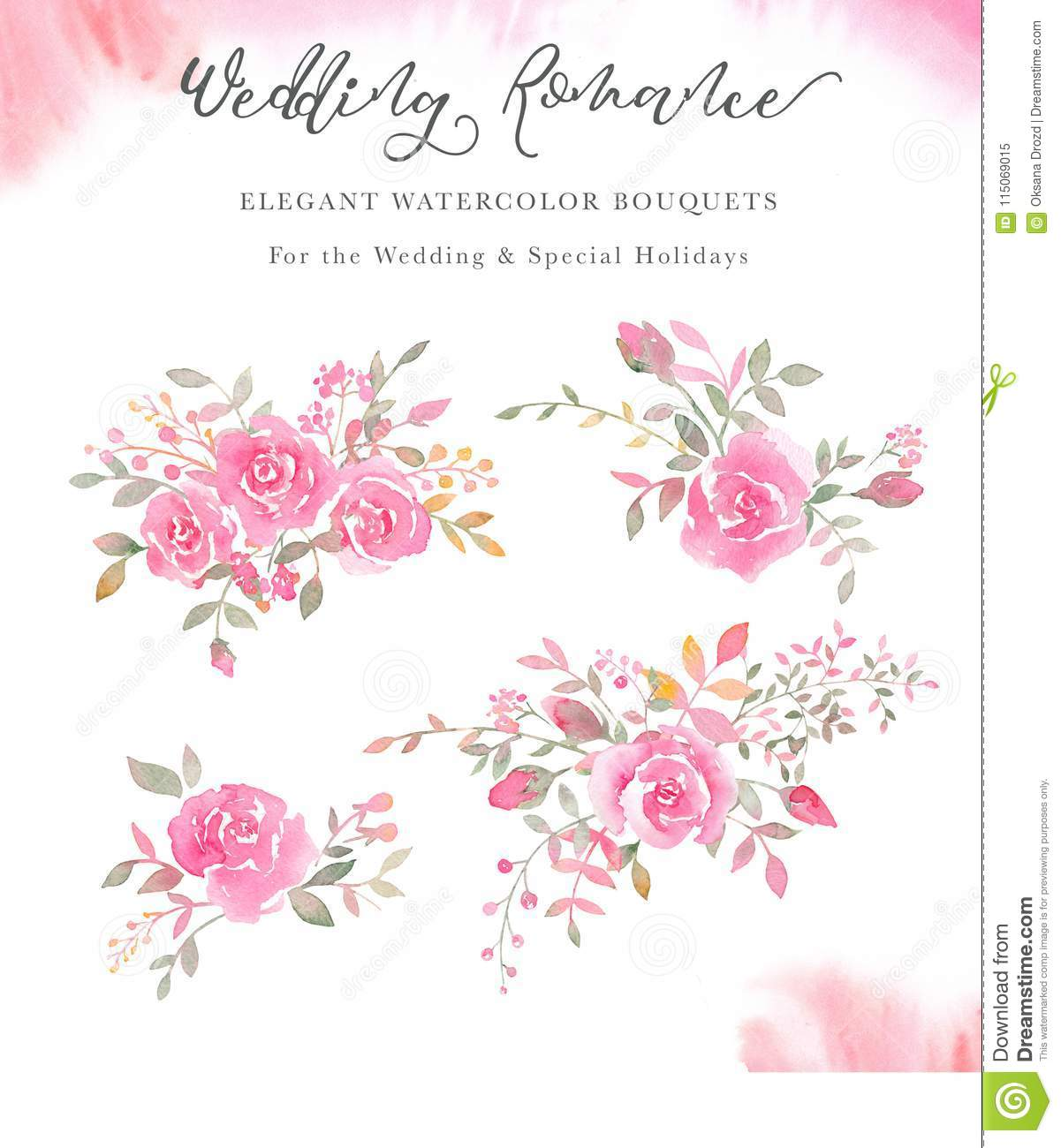 Handpainted Watercolor Arrangements With Rose Flowers Rosebuds