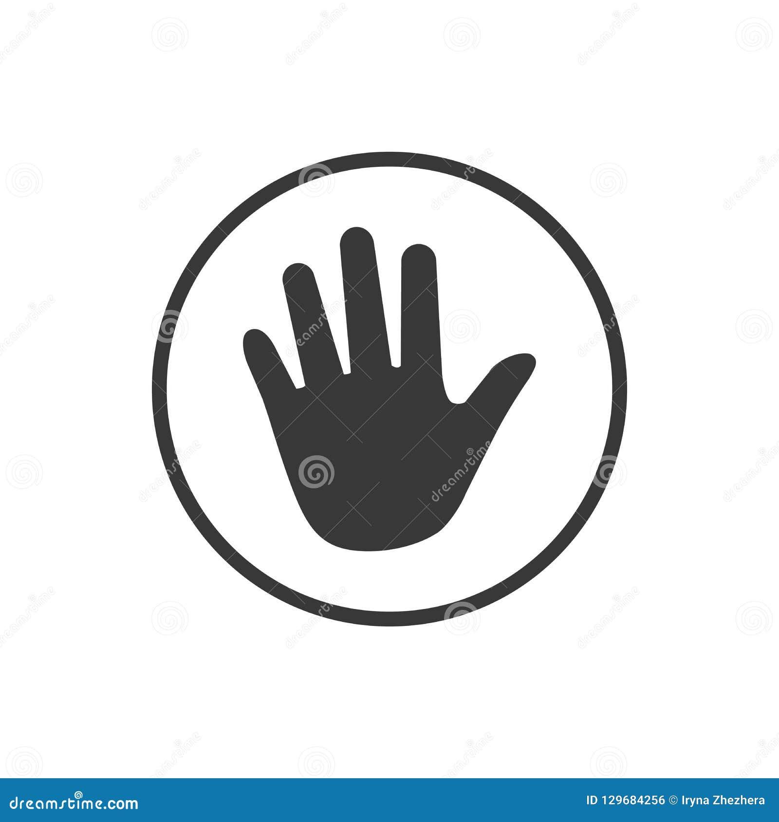 Handpictogram in cirkel Vector illustratie die op witte achtergrond wordt geïsoleerdd