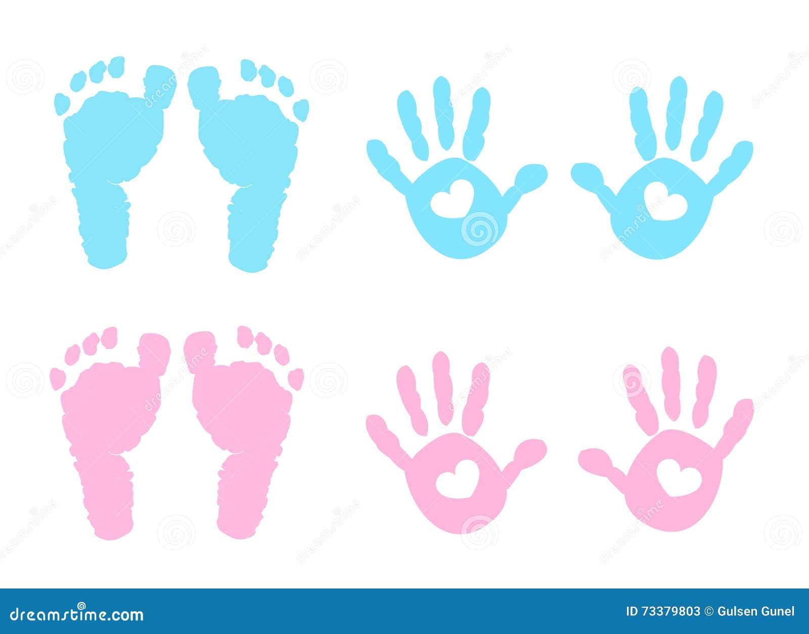Handprint del bebé y ejemplo de la huella