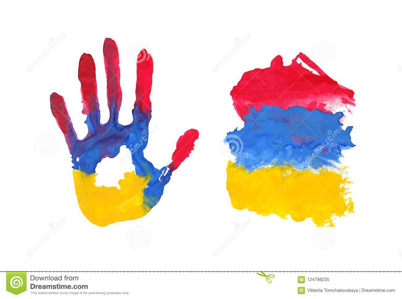 Handprint In The Form Of The Flag Of Armenia Black Red