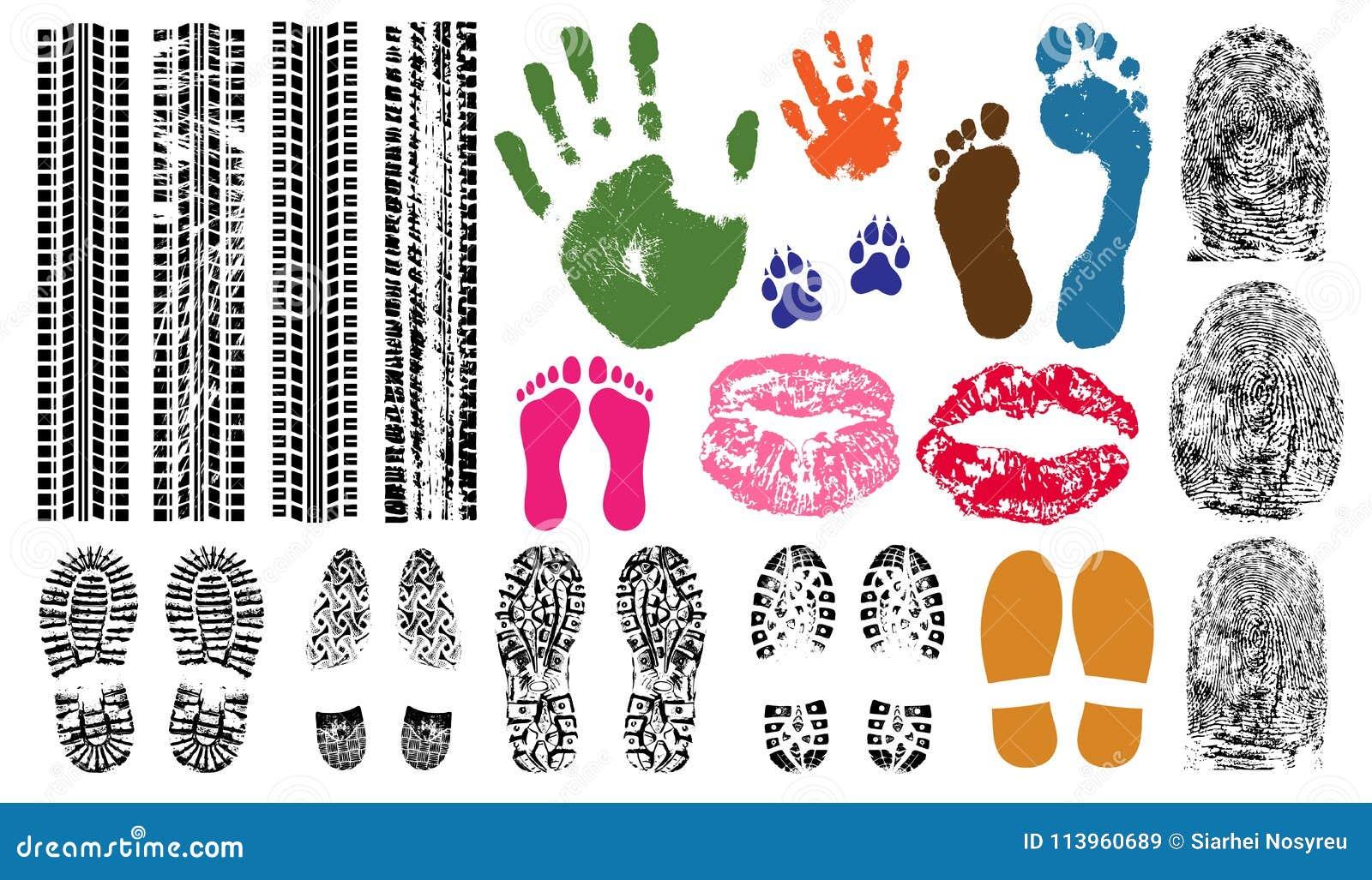 Handprint fotspår, fingeravtryck, tryck av kanterna, gummihjulspår Fastställt samlingstecken för avtryck