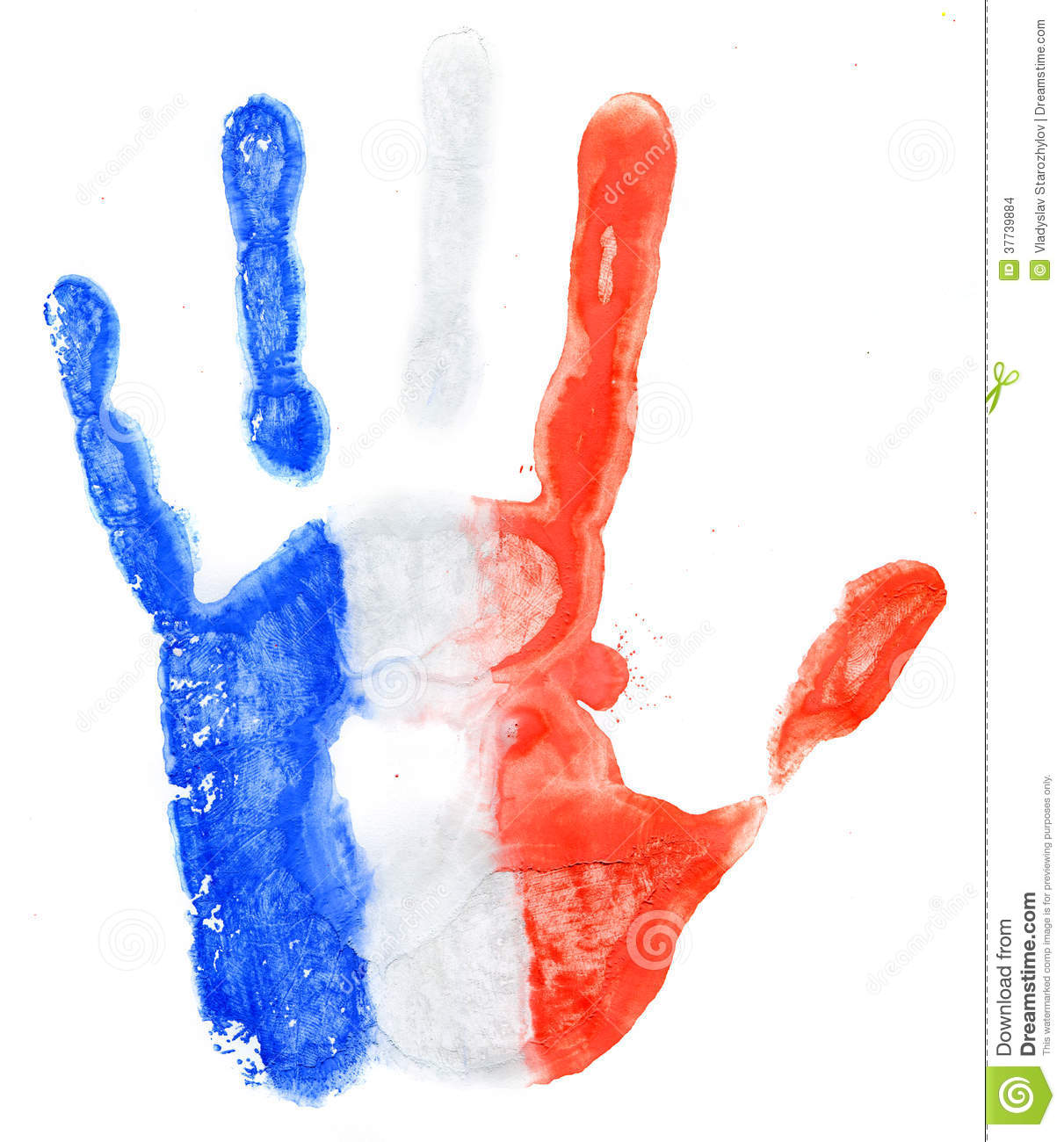 handprint of a france flag on a white stock images image 37739884