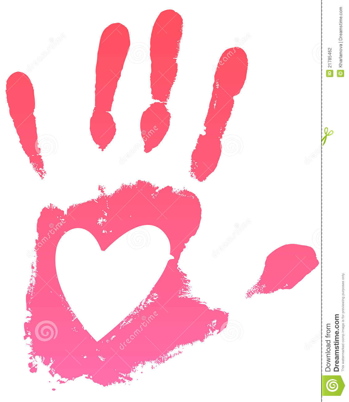 Handprint Heart Clipart Pink Handprint With Heart