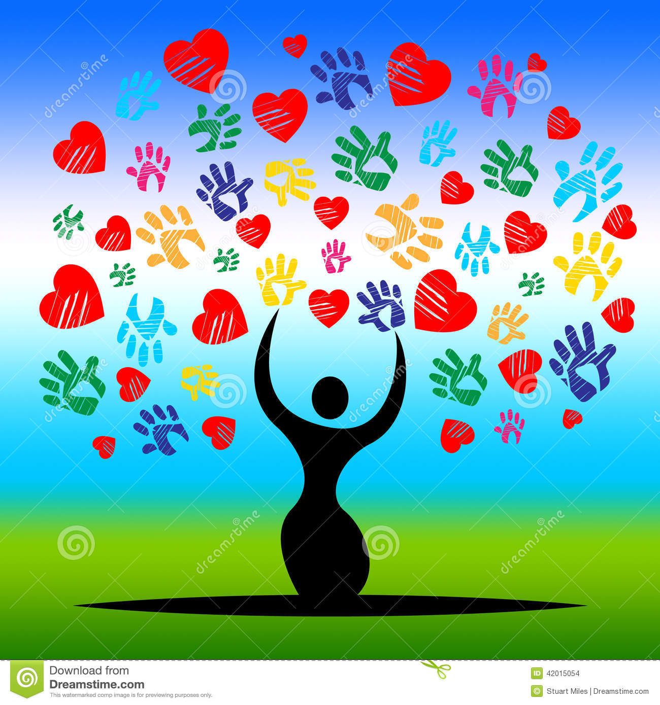 Handprints Tree Represents Valentine S Day And Artwork Stock