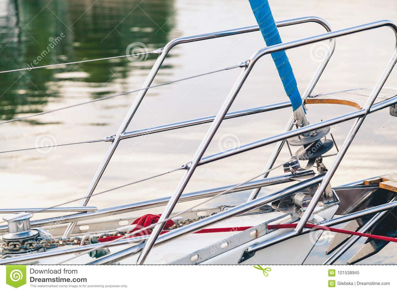 Steel Handrails Fence On A Yacht Stock Image Image Of