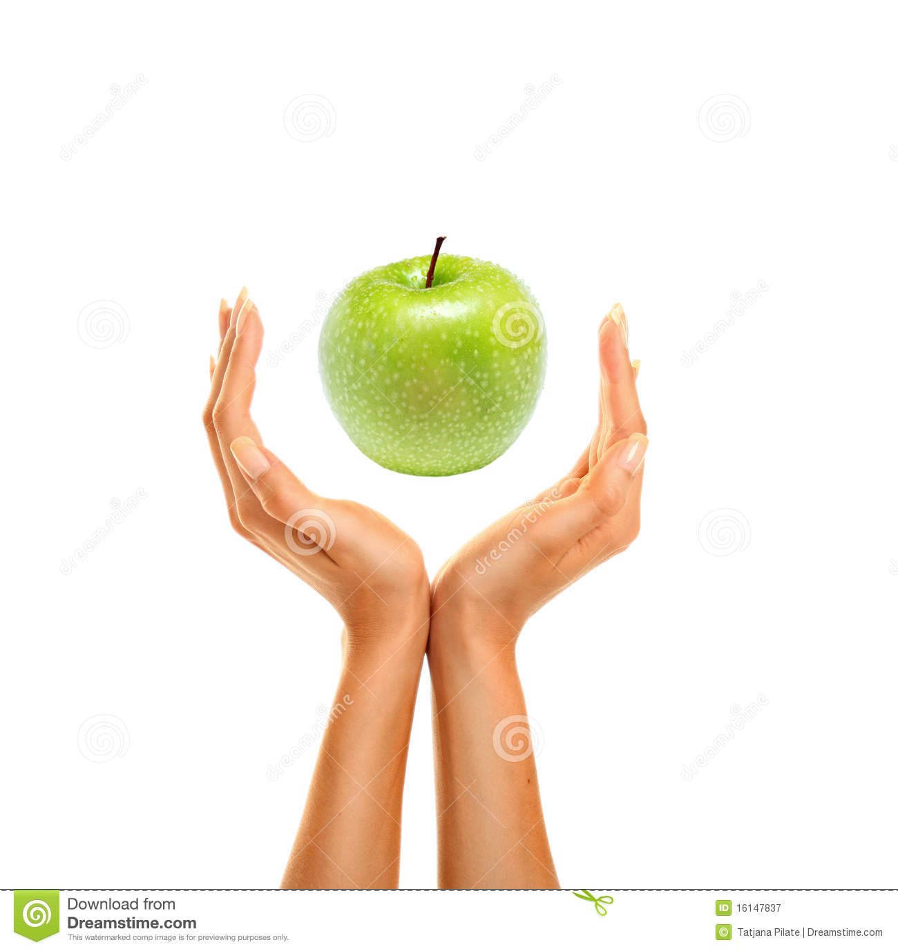 Hands with apple