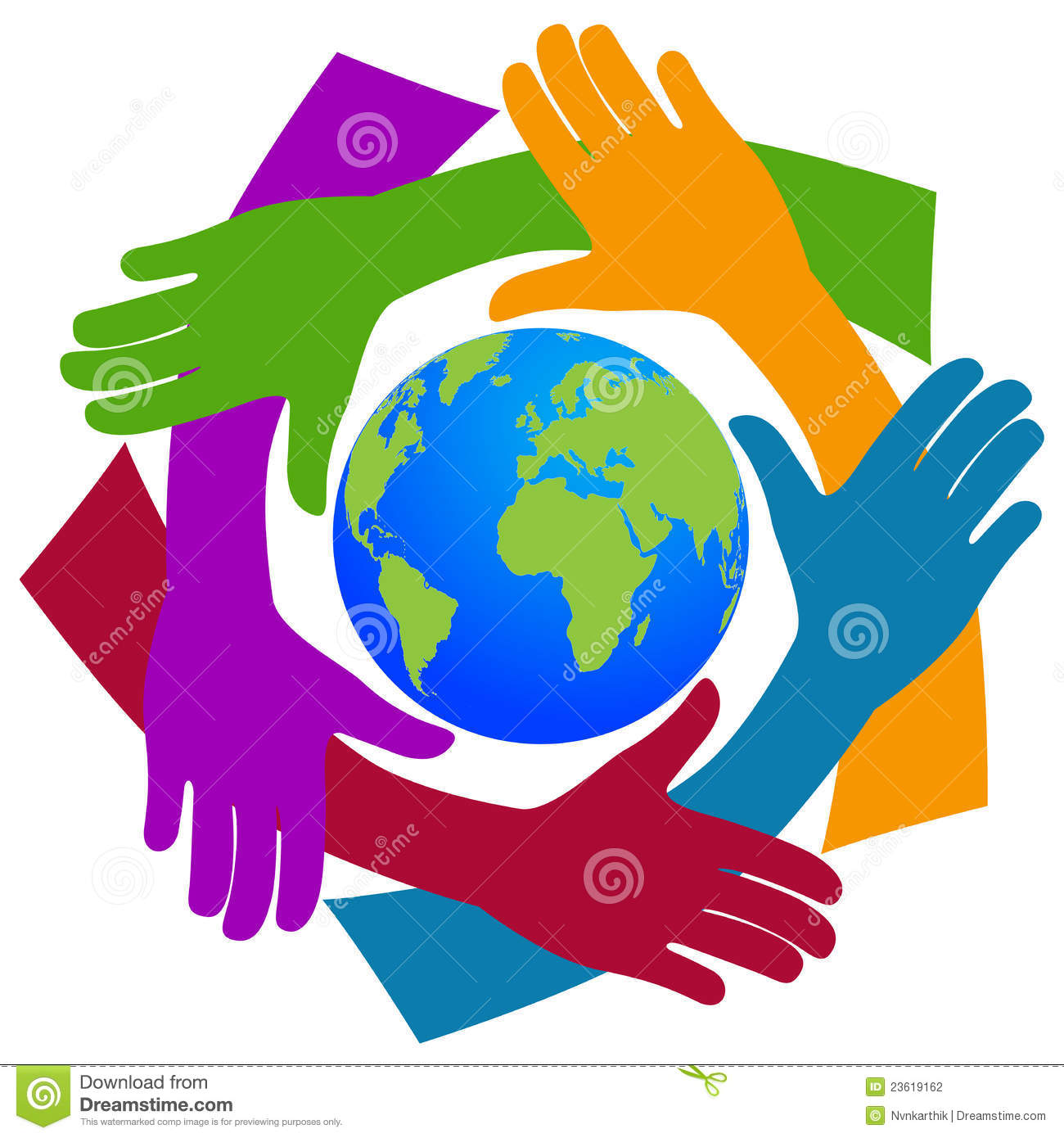 Illustration of ...A Circle Of Hands Clipart