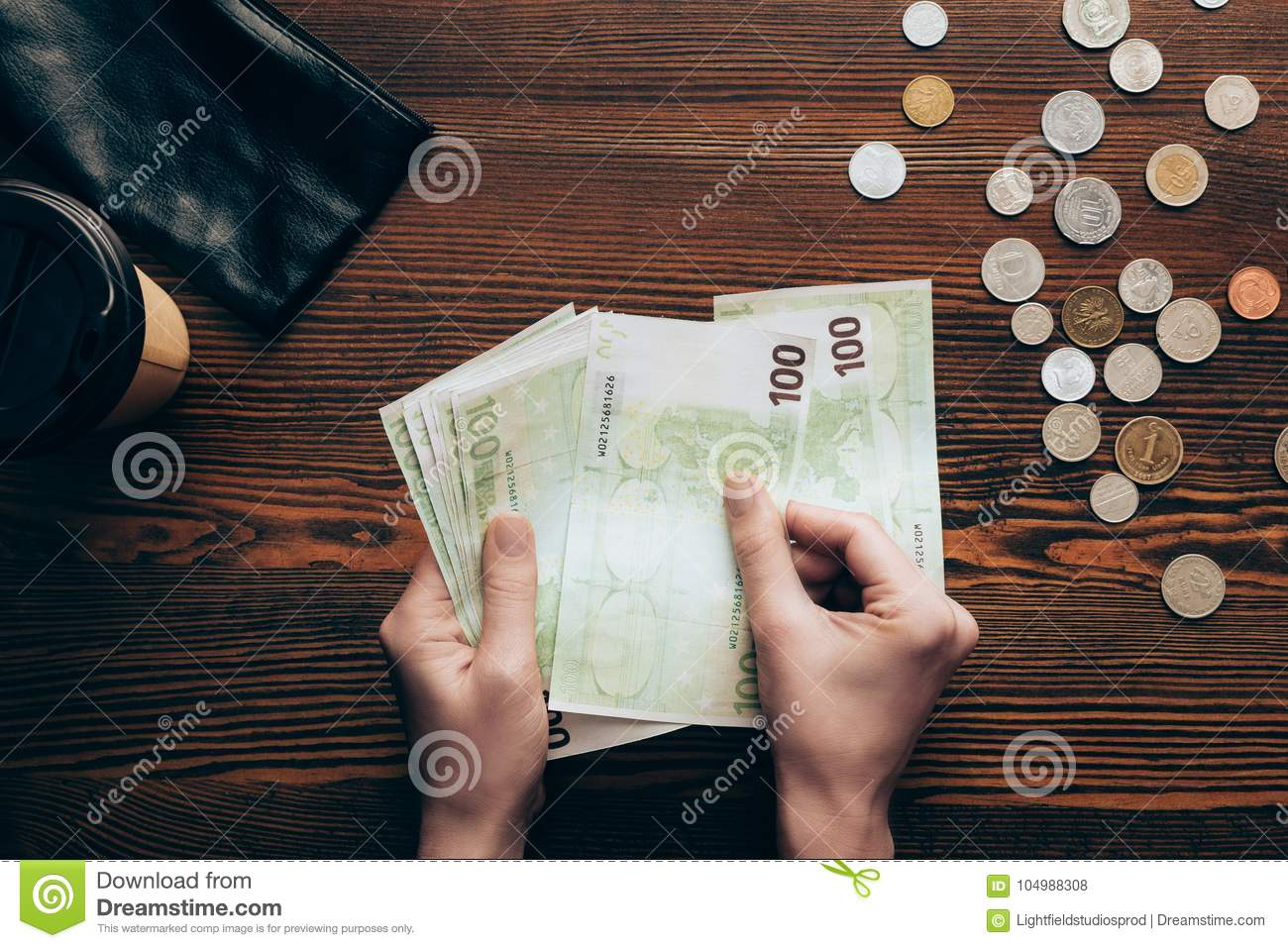 Hands With Banknotes And Coins Stock Photo - Image of euro