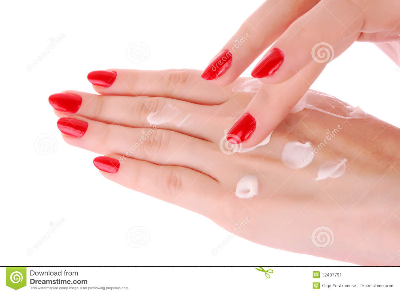Hands With Body Cream Stock Image - Image: 12497791