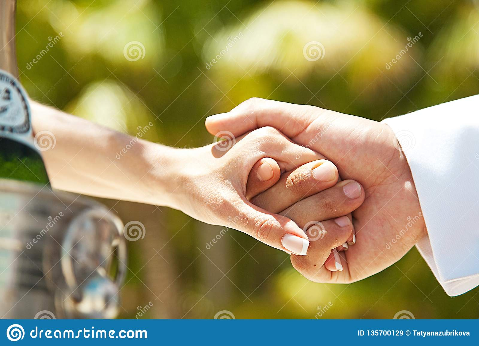 couple hold hands. Wedding and love.