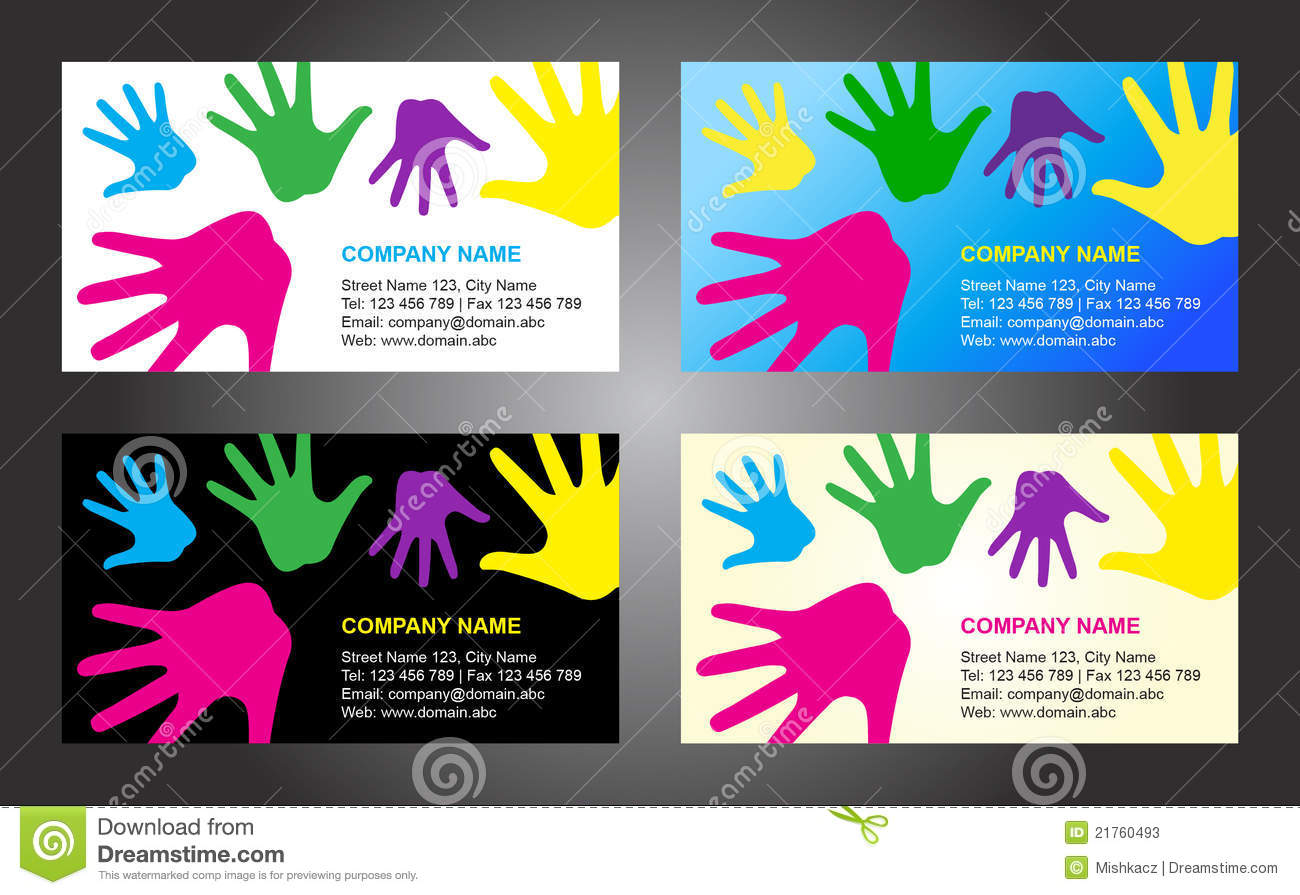 Hands business card template design stock vector illustration of collection of 4 vector business card template designs with colorful rainbow kid hands theme with editable all letterings in eps format arial font reheart