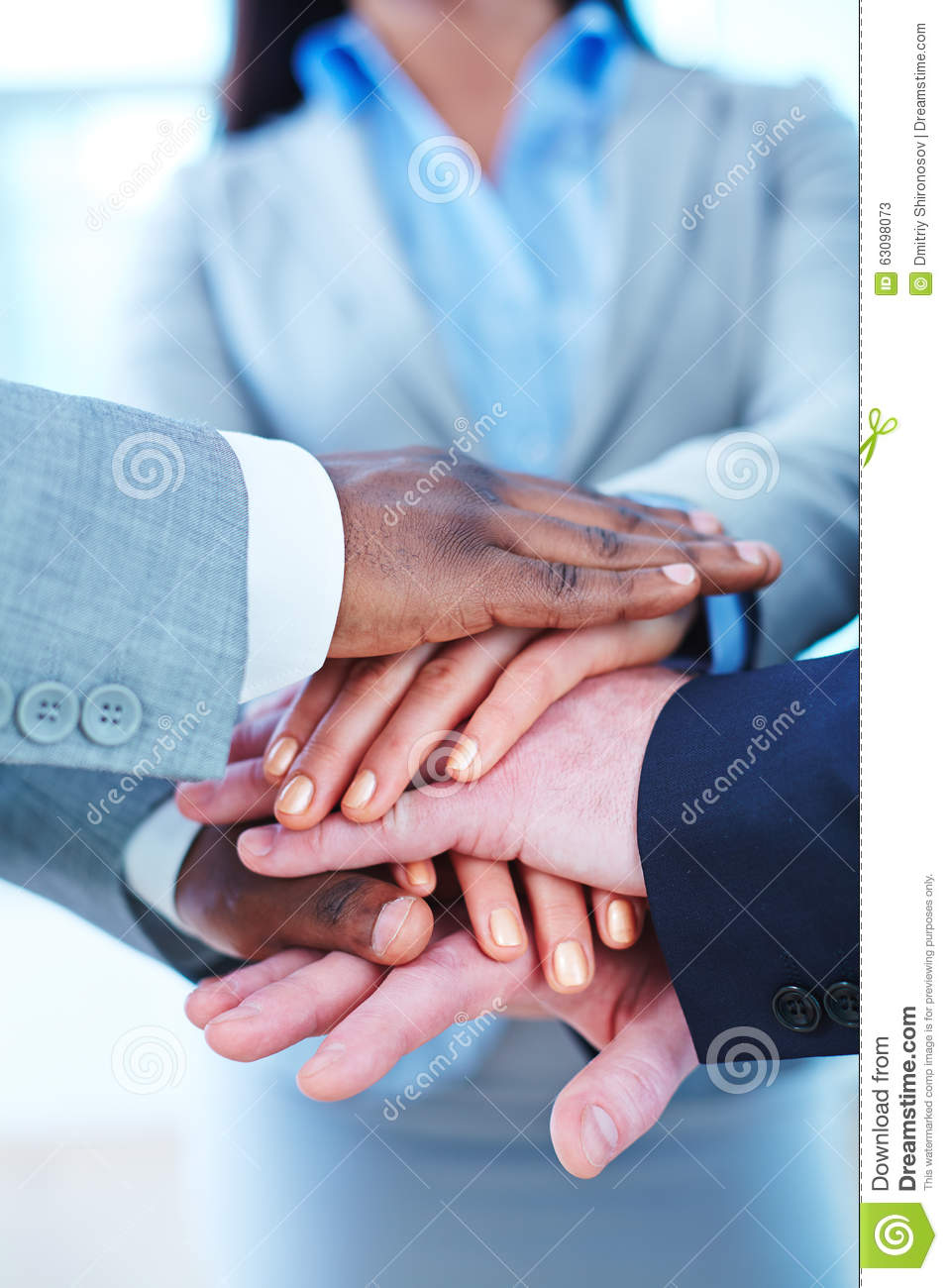 Hands of business partners