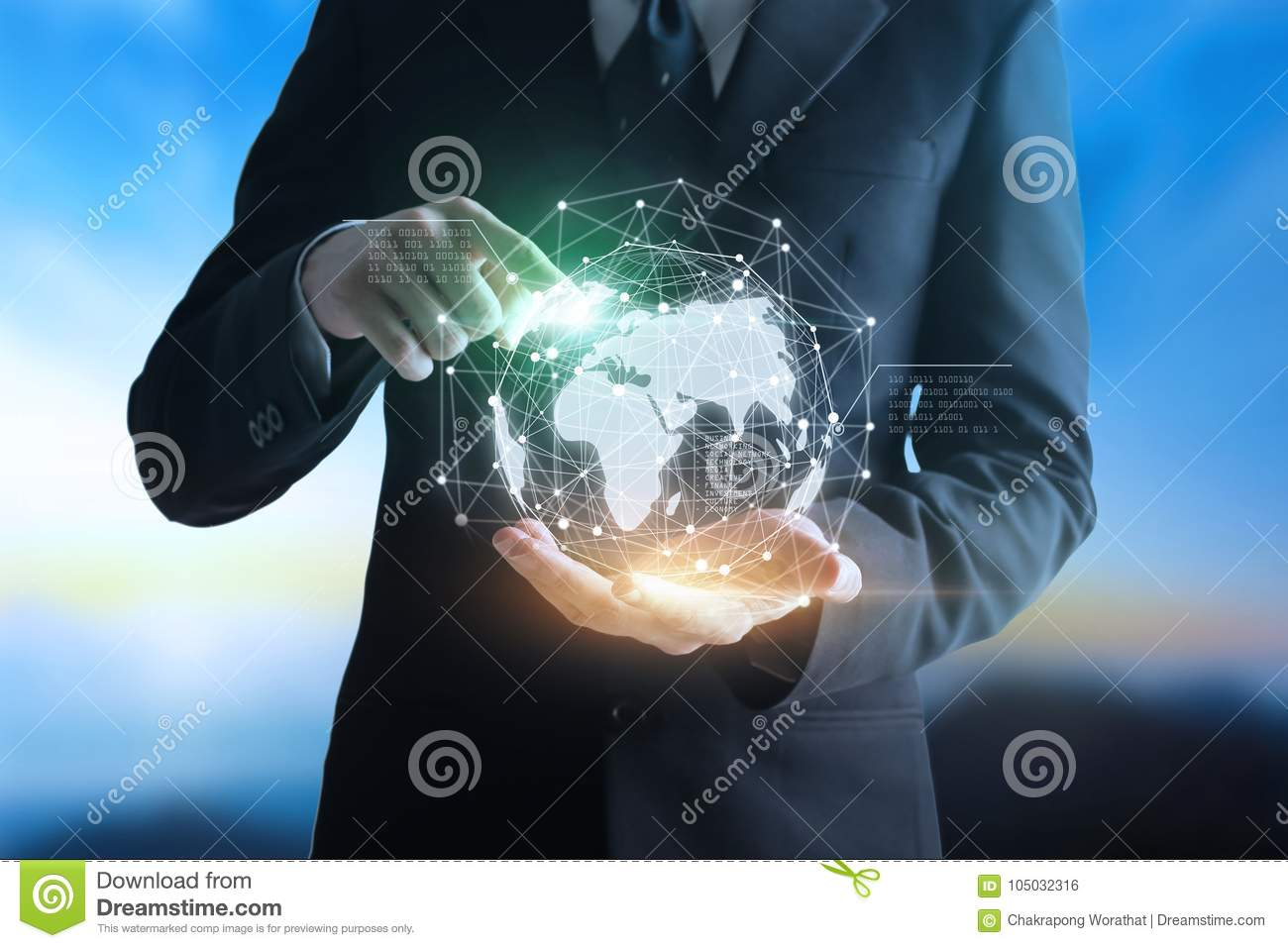Hands businessman touching Technologies connecting the world.