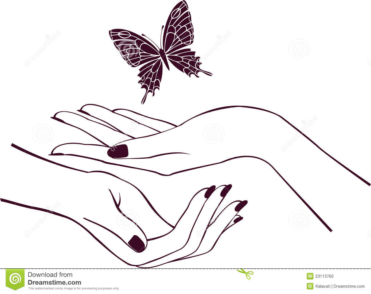 Hands with butterfly stock vector. Illustration of female ...