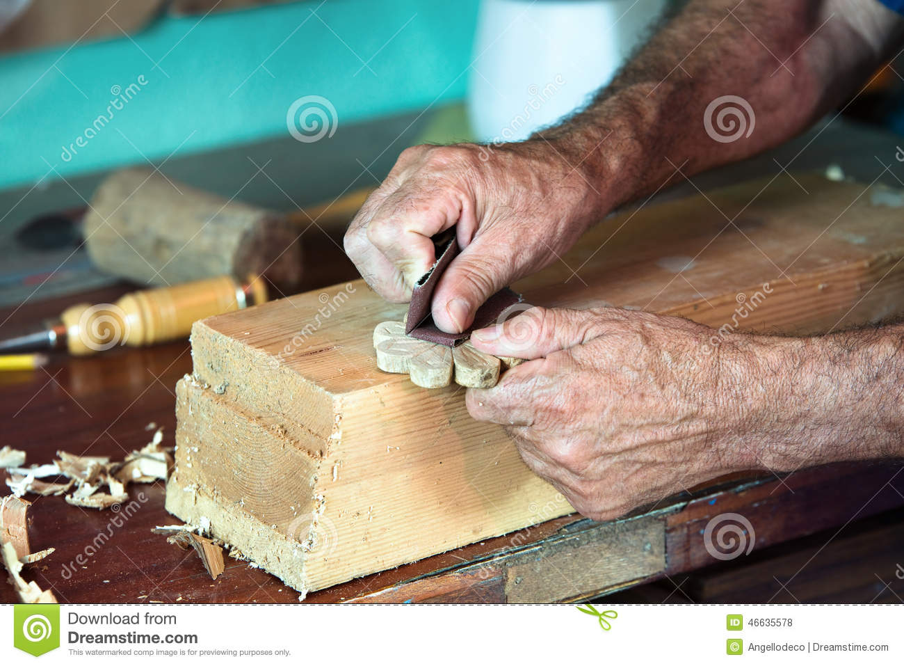 Carpenter Hands Working In Furniture Wood Industry Royalty