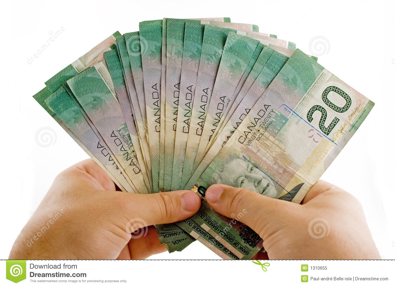 Hands with canadian dollars