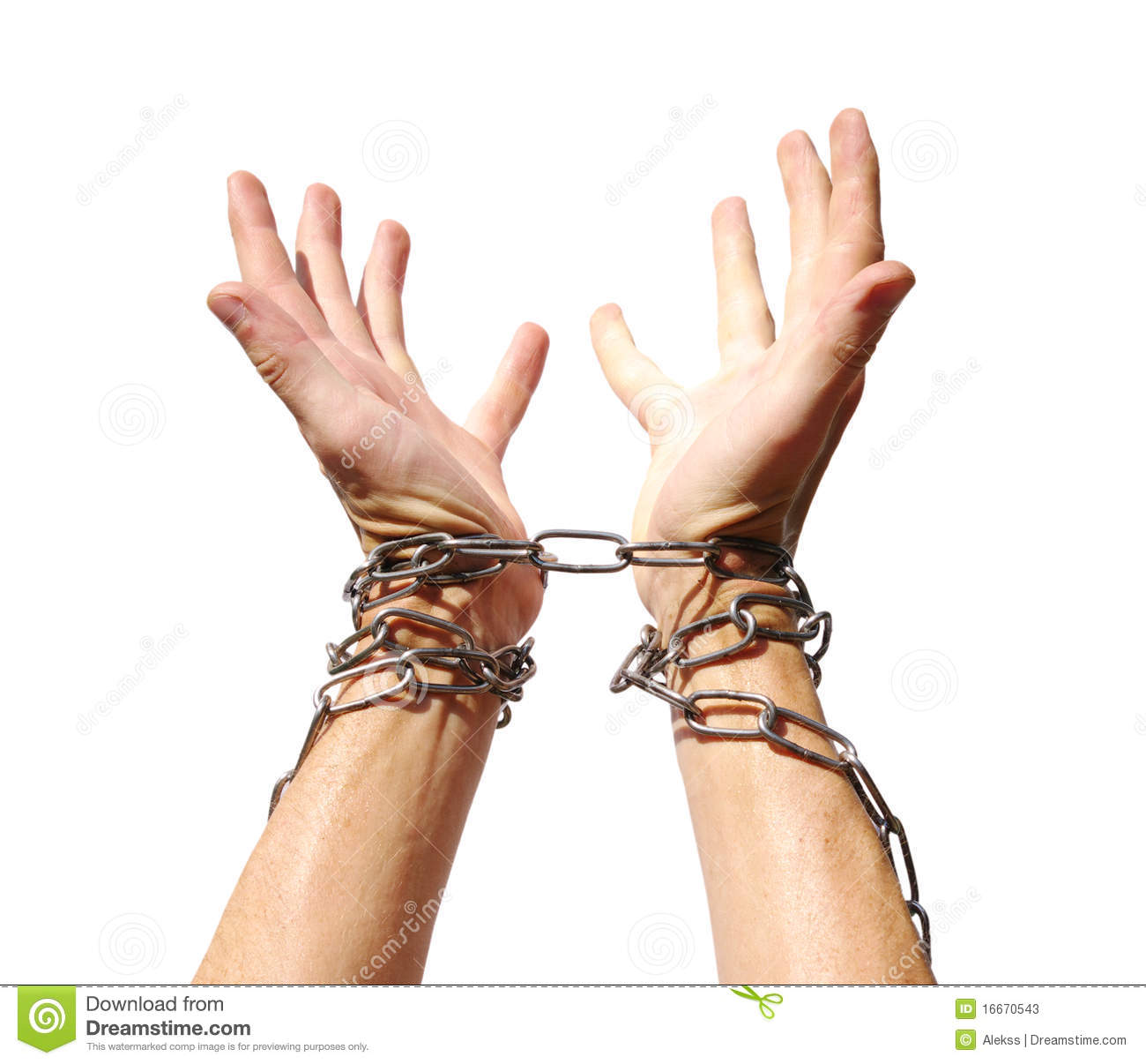 Hands chained together isolated on a white background.