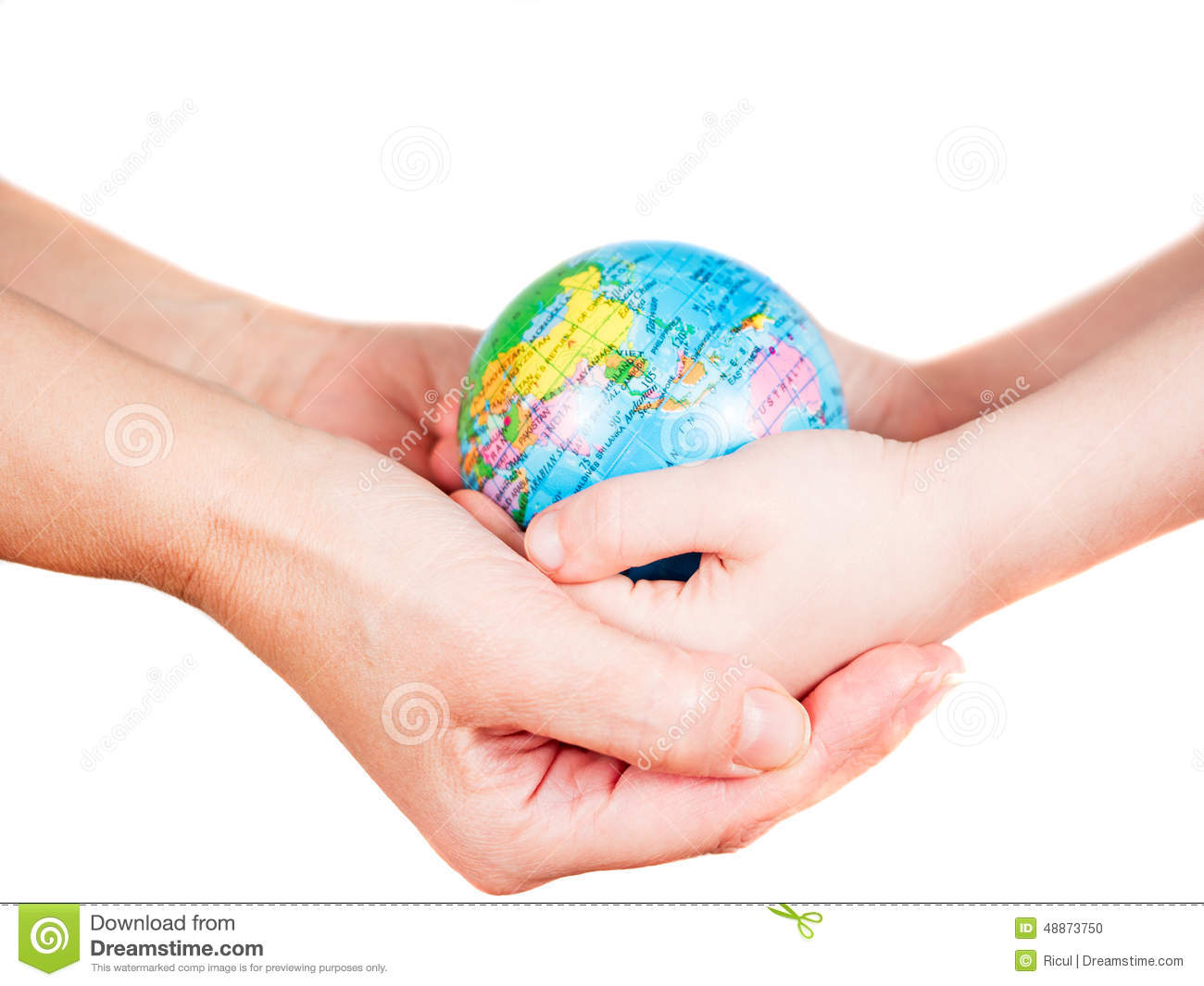 Hands Of A Child And A Woman Holding Globe Stock Photo ...