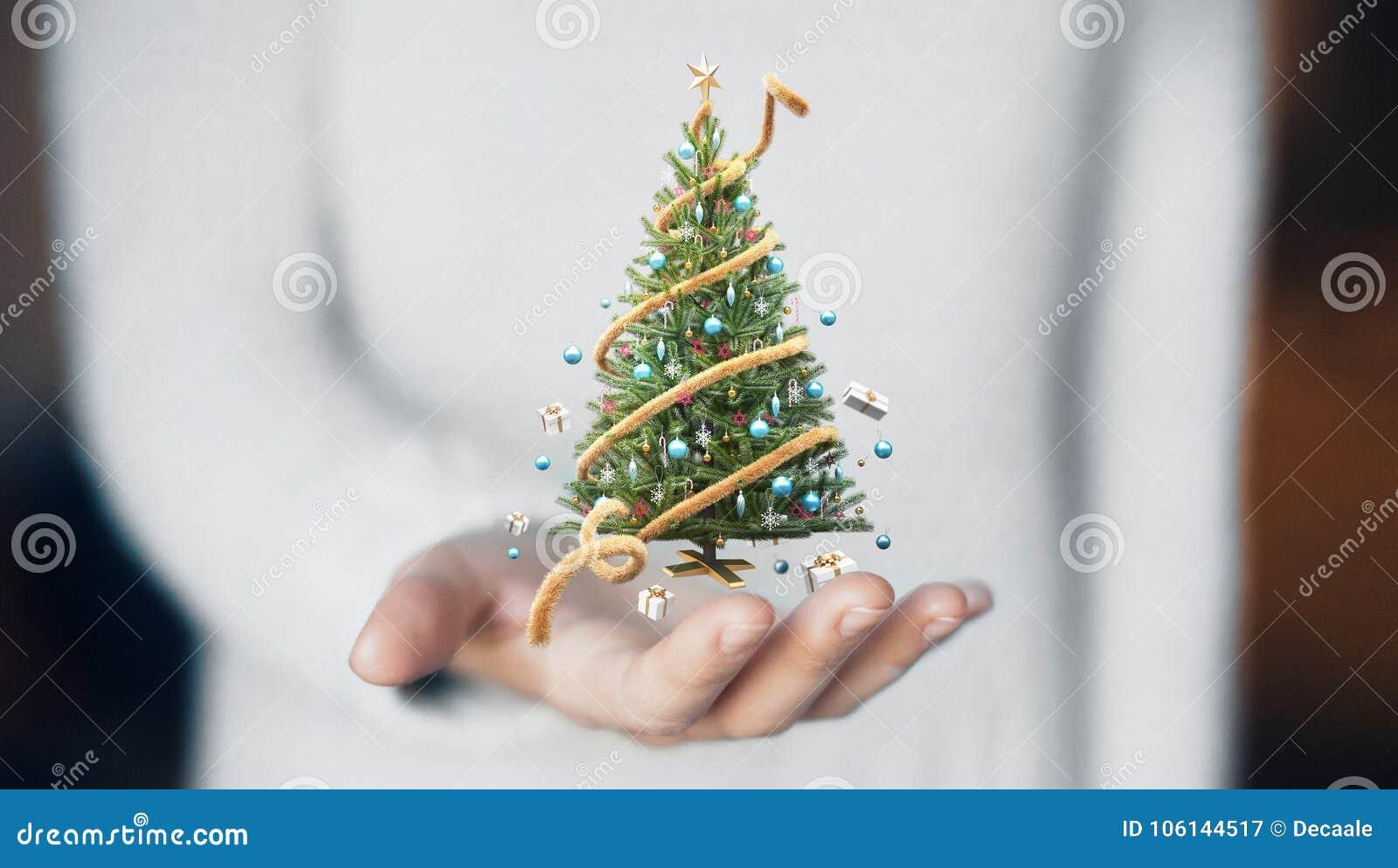 Christmas Tree On Hand Decorations Gift Card Stock Image Image