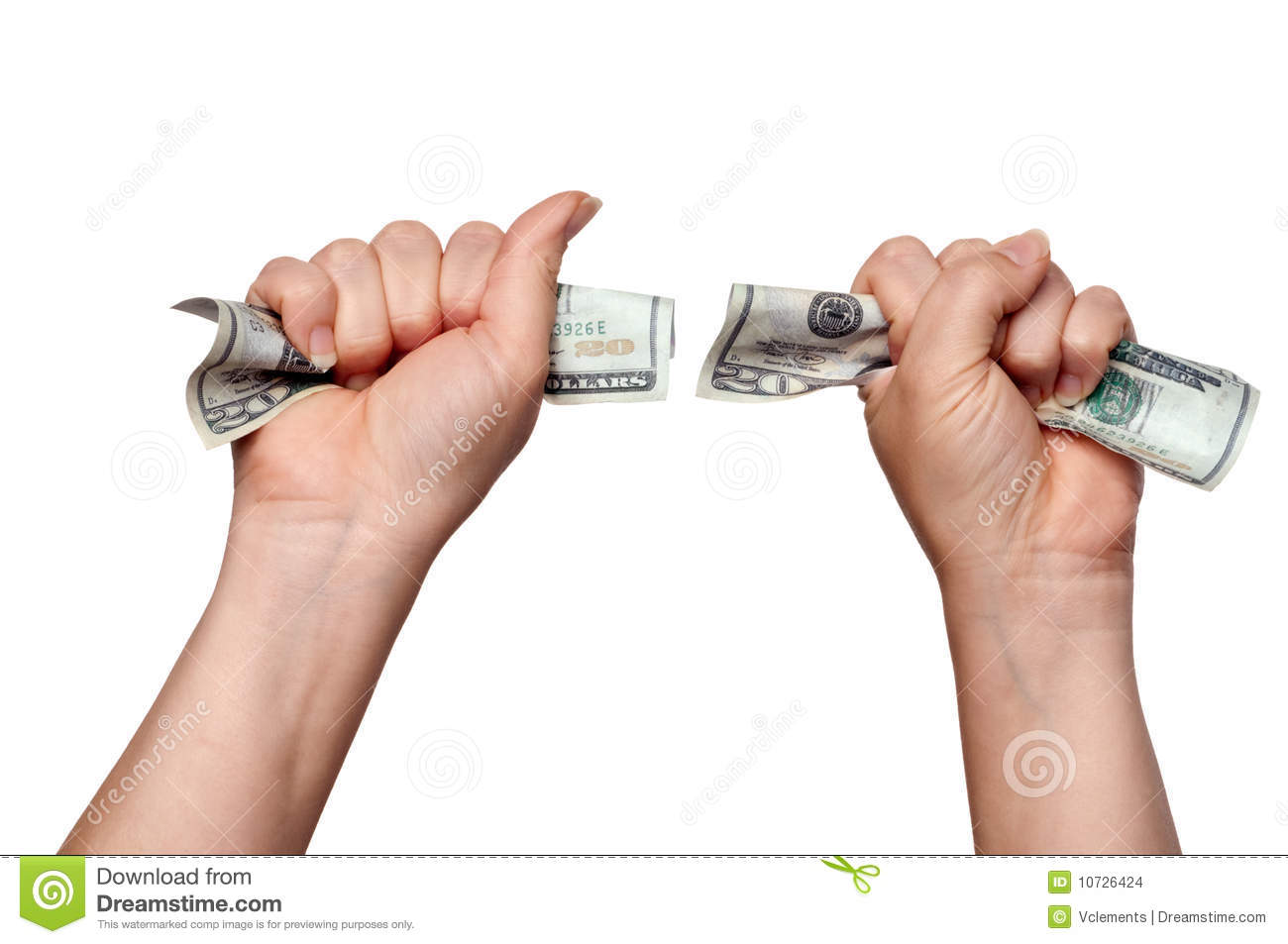 Hands Clutching American Money Stock Images - Image: 10726424