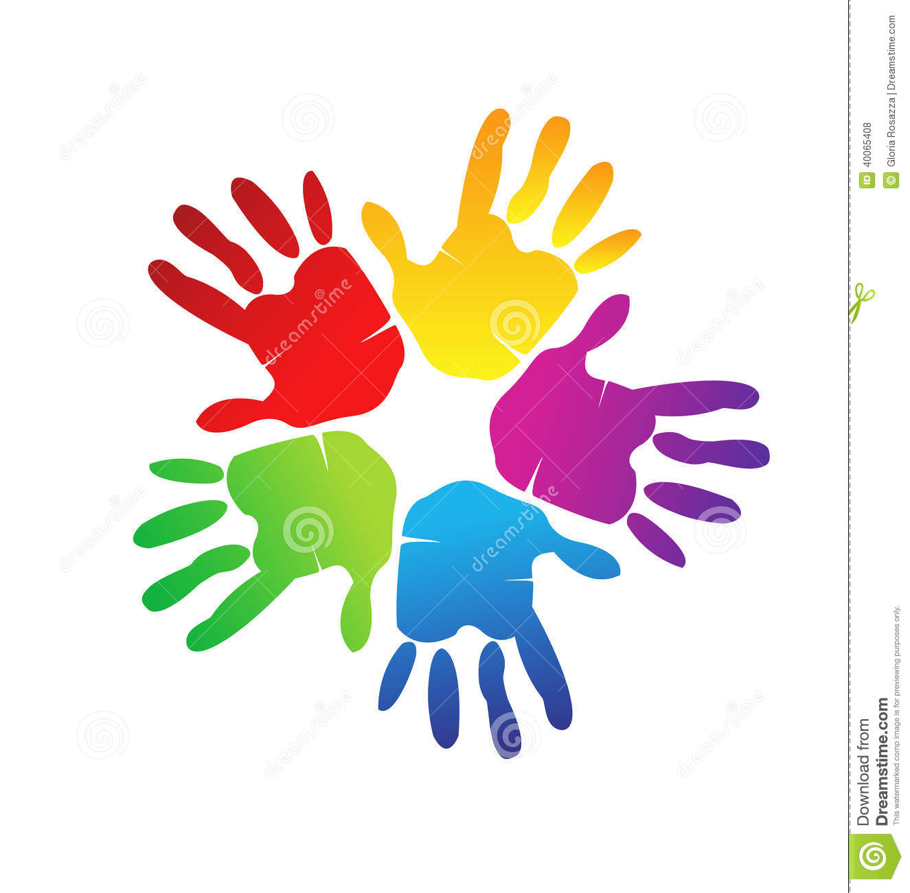 Hands colorful creative graphic logo design.