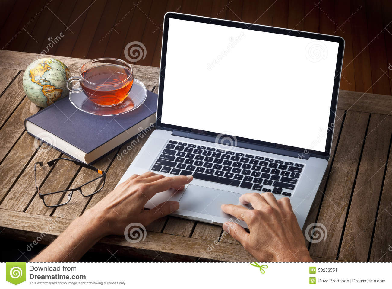 Hands Laptop Computer Desk Stock Photo Image 53253551