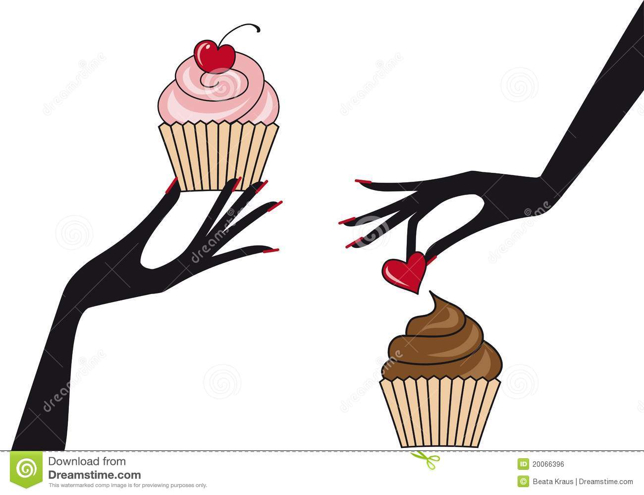 Hands with cupcakes,